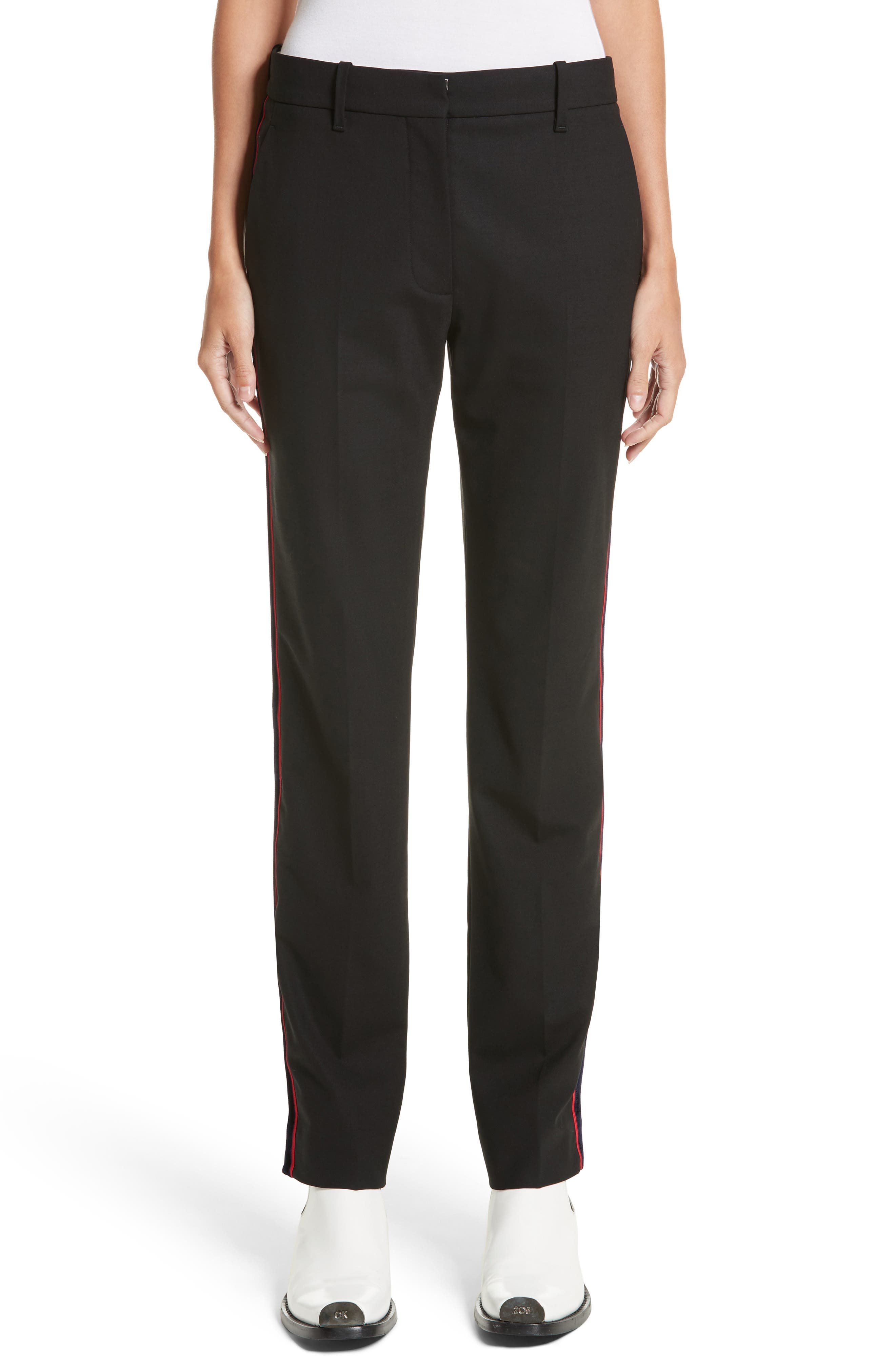 Velvet Stripe Stretch Wool Pants,                         Main,                         color, 001