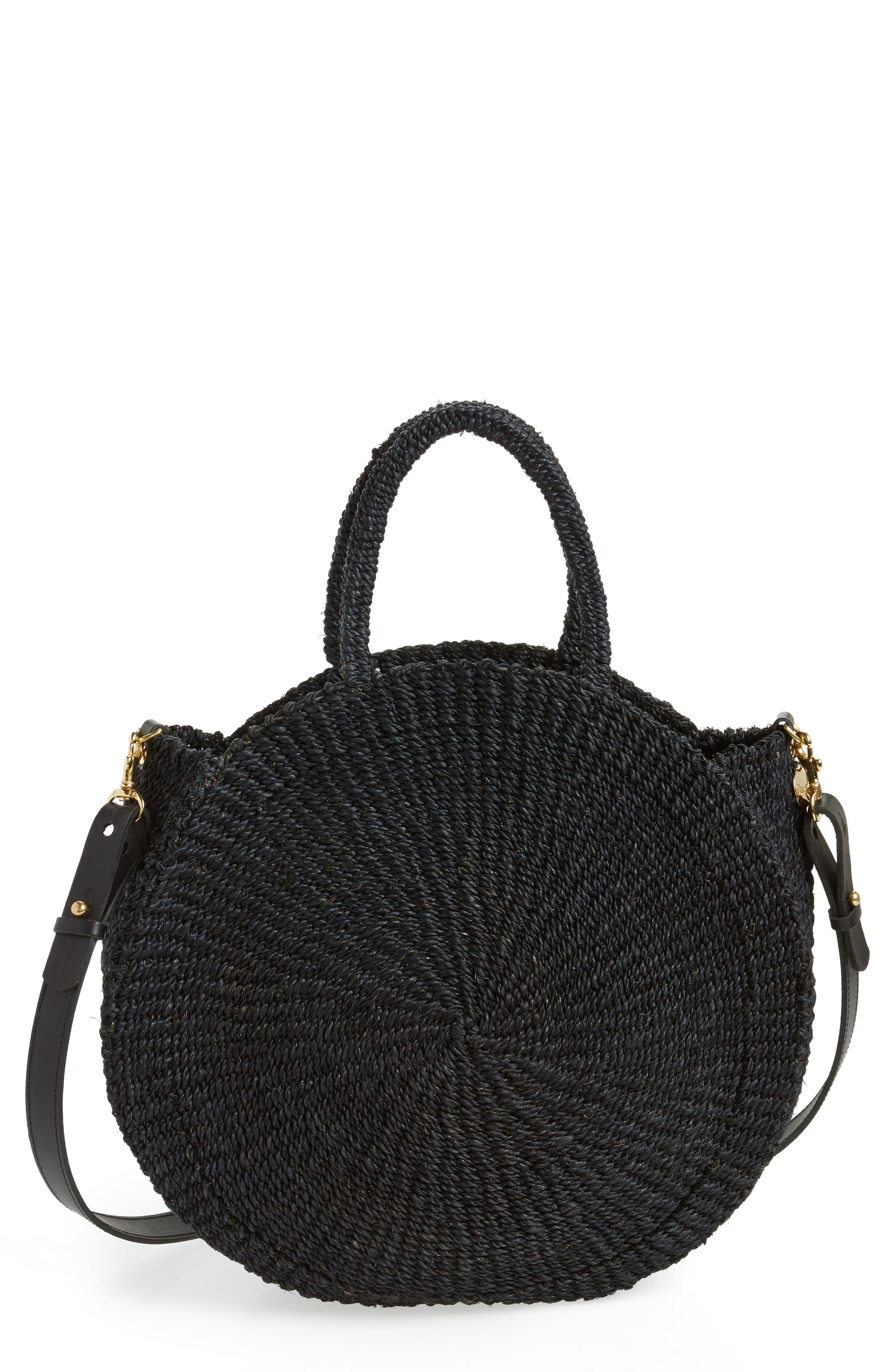 Alice Woven Sisal Straw Bag,                             Main thumbnail 1, color,                             BLACK WOVEN