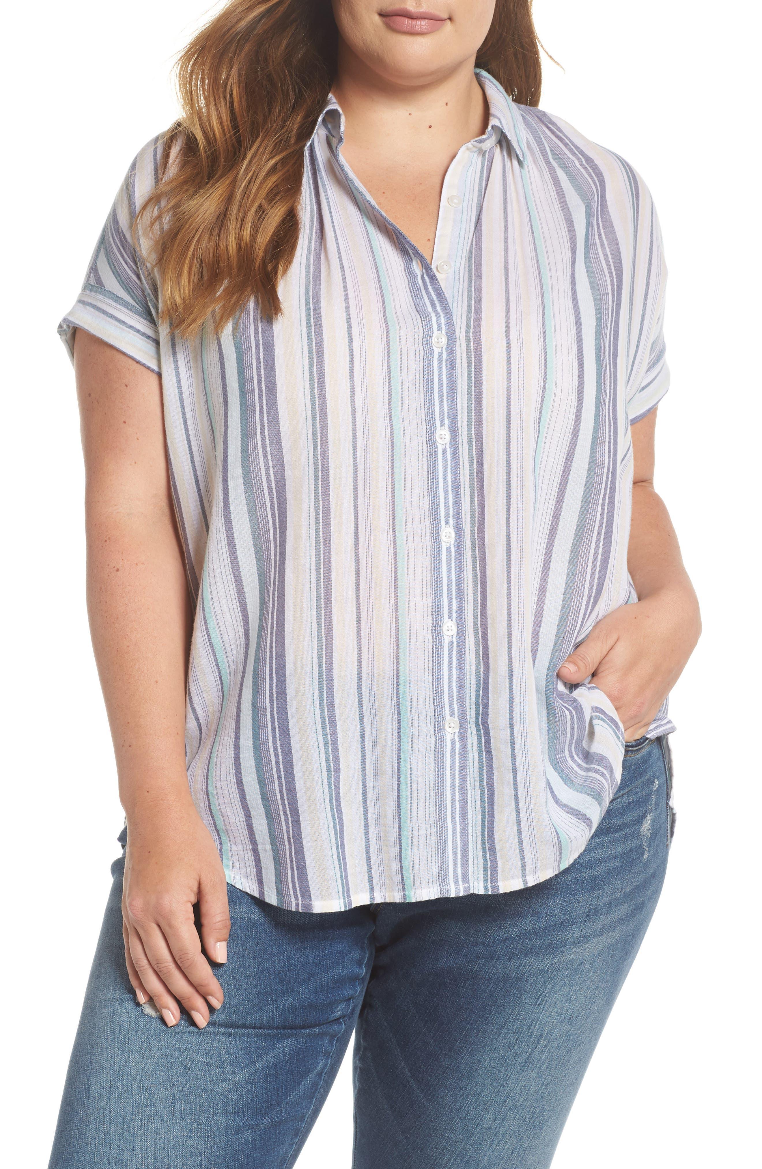 Sheer Stripe Shirt,                         Main,                         color, 101