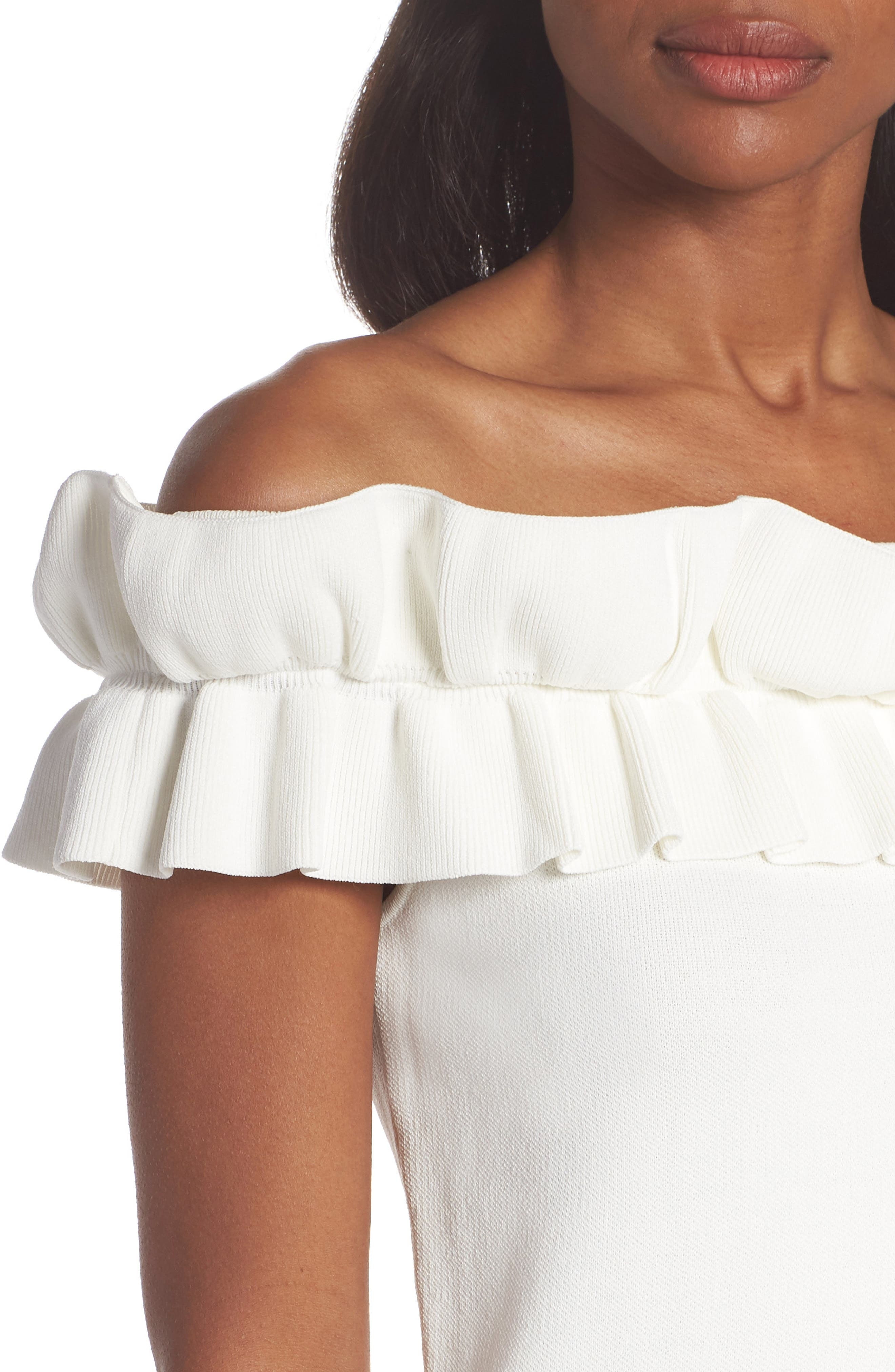 Off the Shoulder Ruffle Knit Top,                             Alternate thumbnail 4, color,                             900