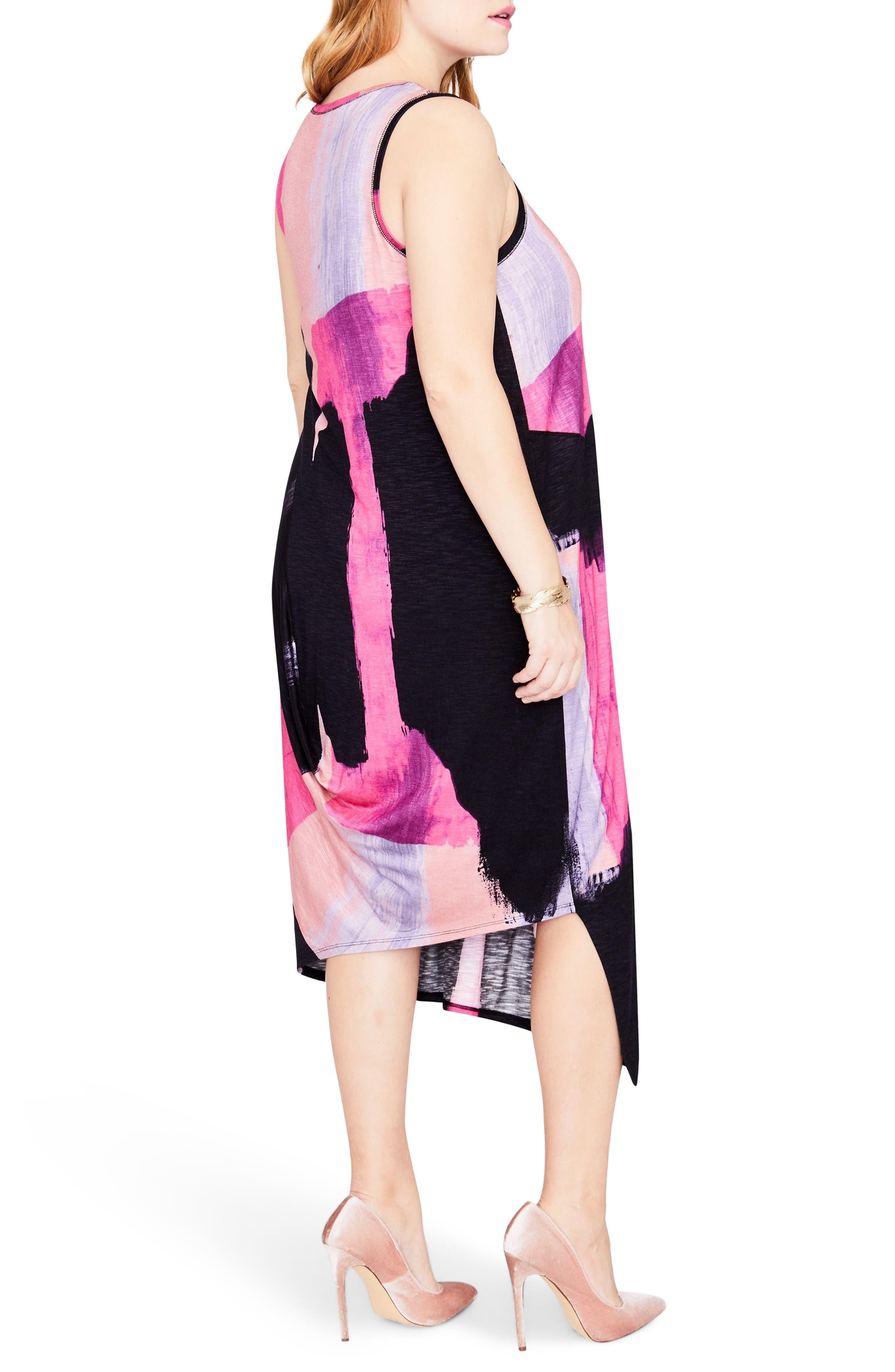Draped Back Print Midi Dress,                             Alternate thumbnail 2, color,                             COSMIC PINK