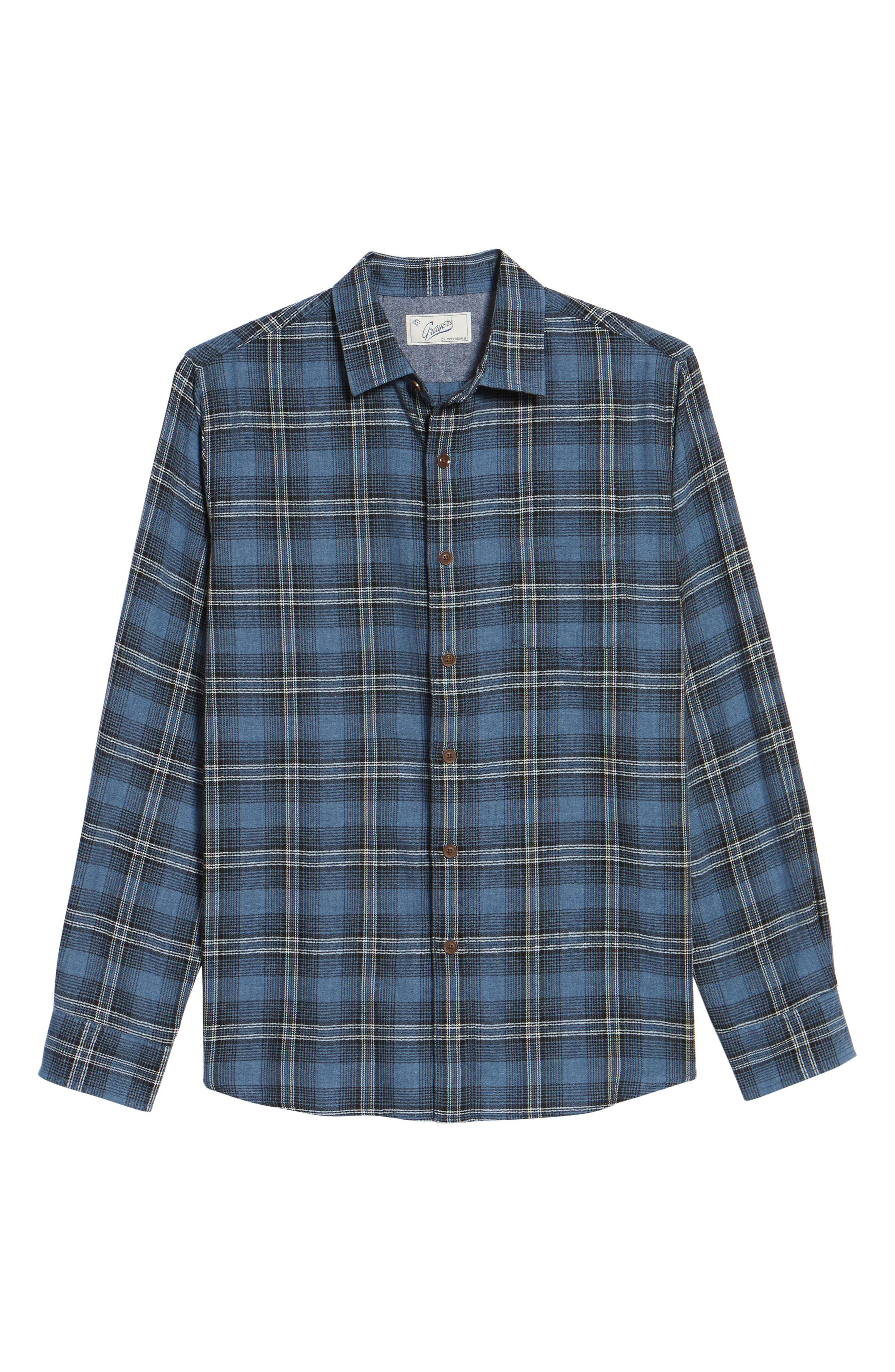Truman Slim Fit Herringbone Twill Sport Shirt,                             Alternate thumbnail 6, color,