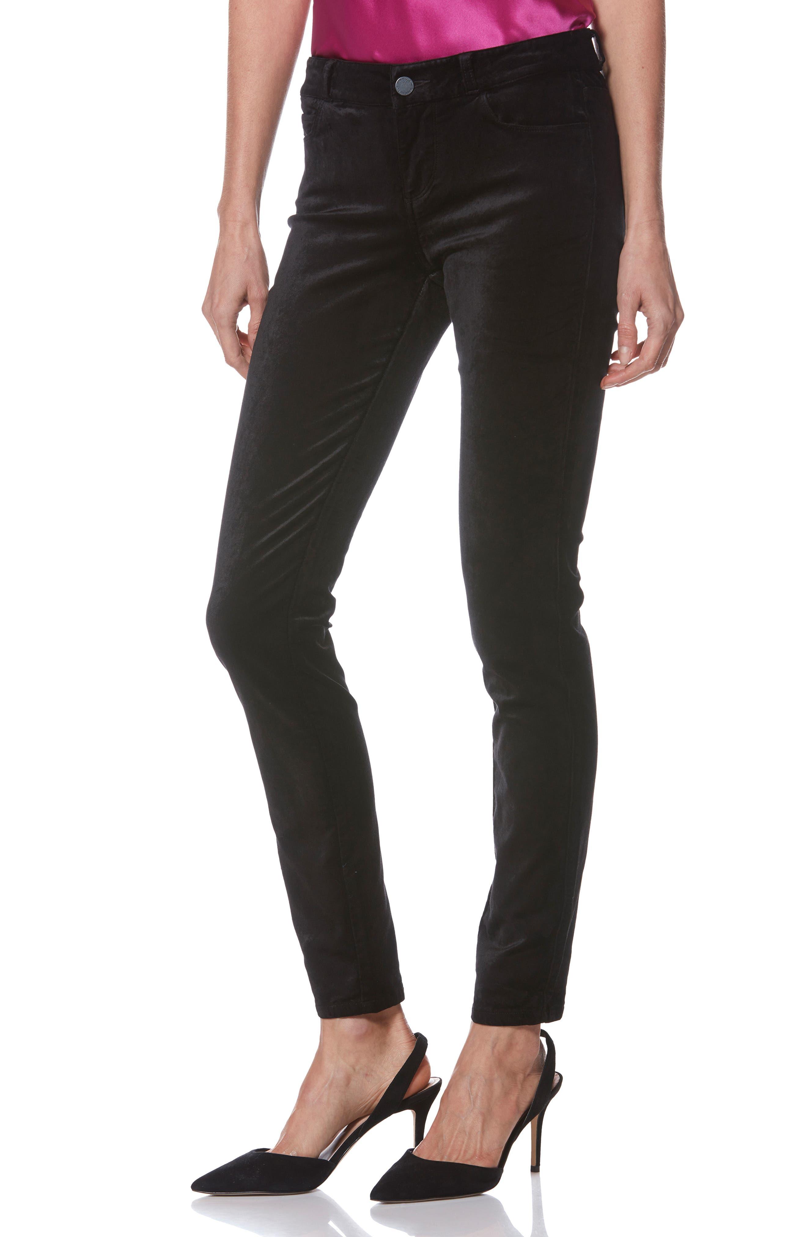 Verdugo Ultra Skinny Velvet Pants,                             Alternate thumbnail 6, color,                             001