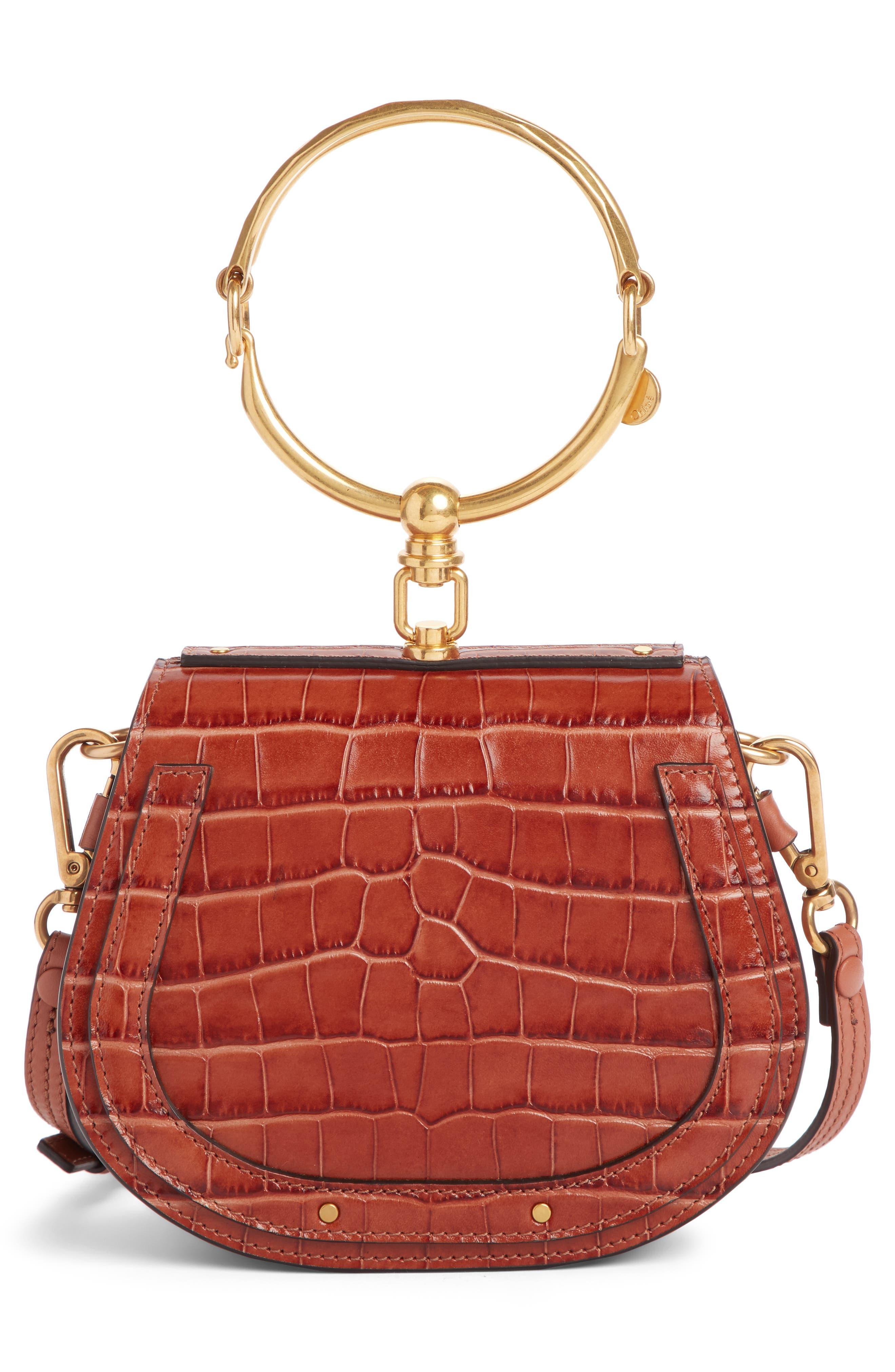 CHLOÉ,                             Nile Bracelet Croc Embossed Leather Crossbody Bag,                             Alternate thumbnail 3, color,                             CHESTNUT BROWN