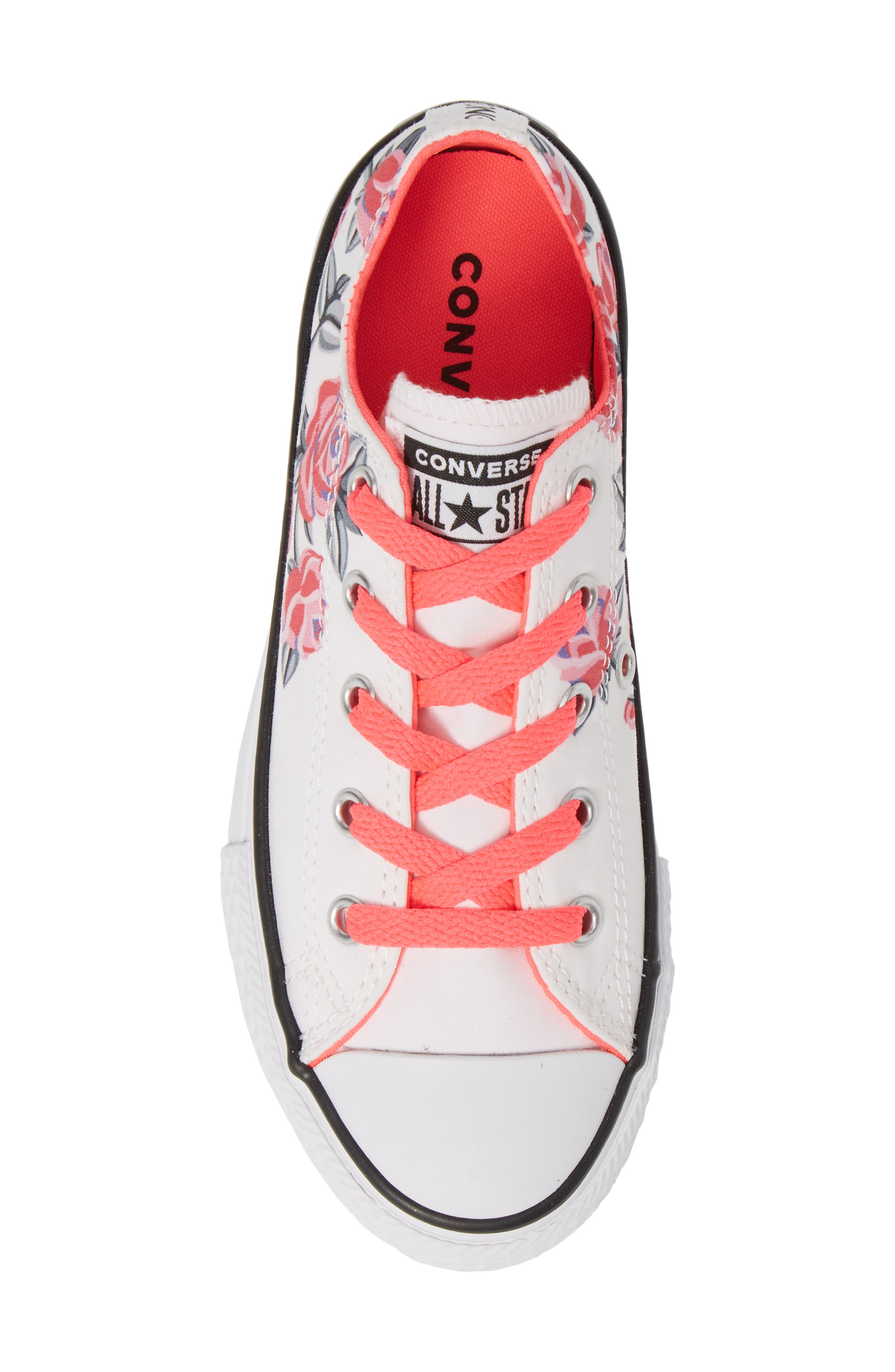 Chuck Taylor<sup>®</sup> All Star<sup>®</sup> Low Top Sneaker,                             Alternate thumbnail 5, color,                             WHITE/ RACER PINK/ BLACK