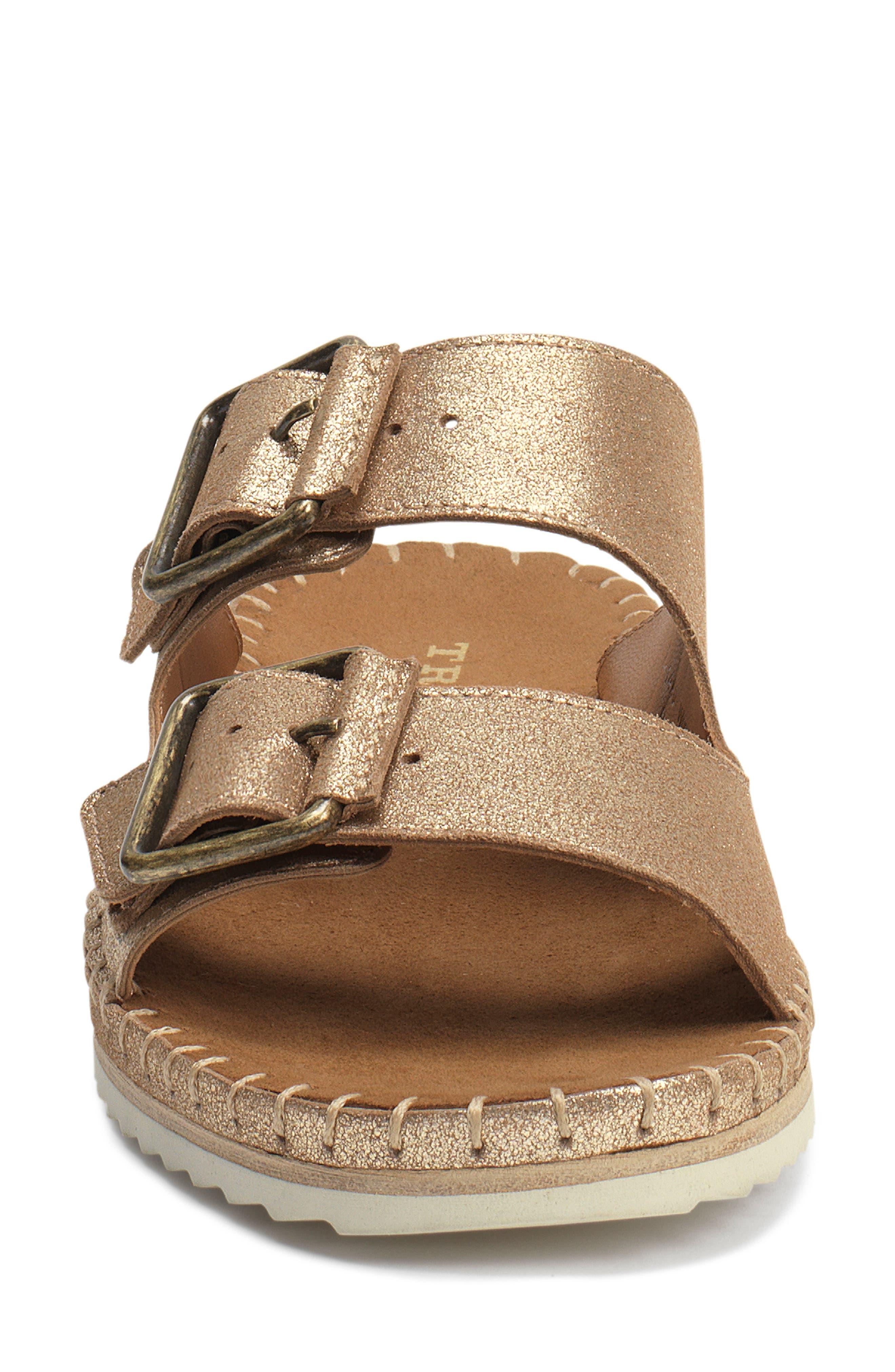 Carli Slide Sandal,                             Alternate thumbnail 4, color,                             GOLD METALLIC SUEDE