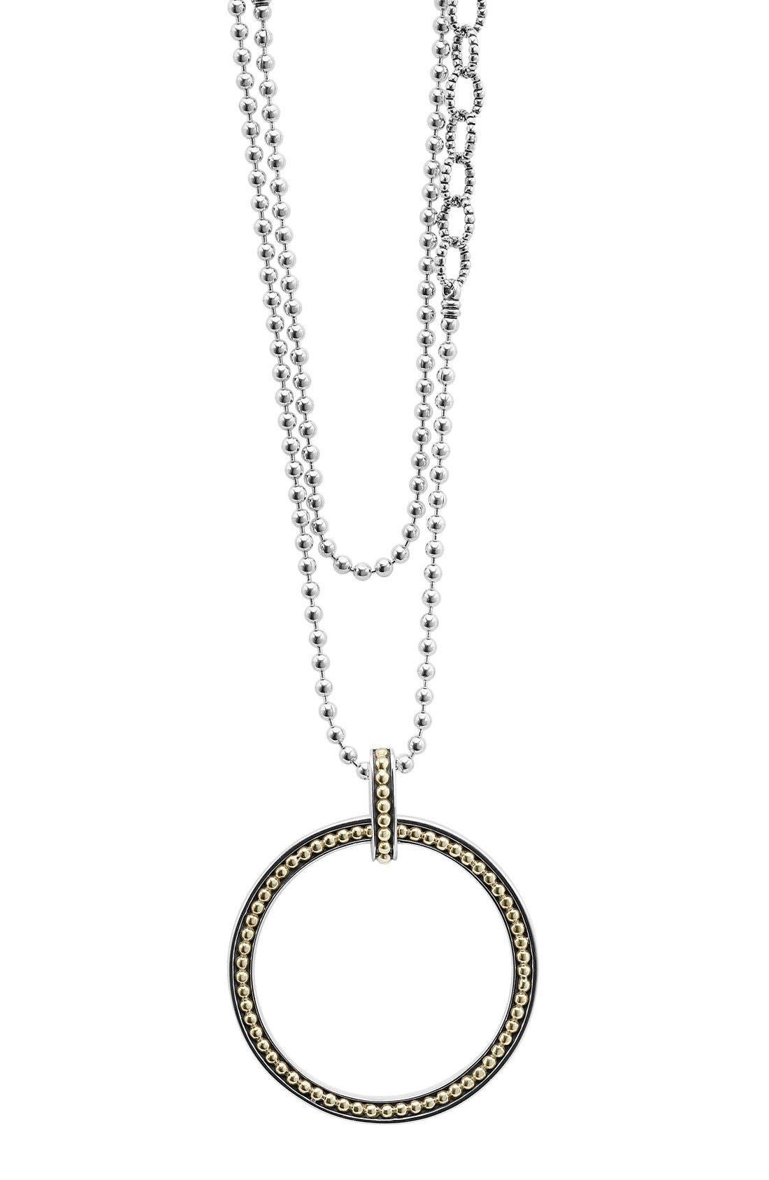 Enso Long Pendant Necklace,                         Main,                         color, SILVER/ GOLD