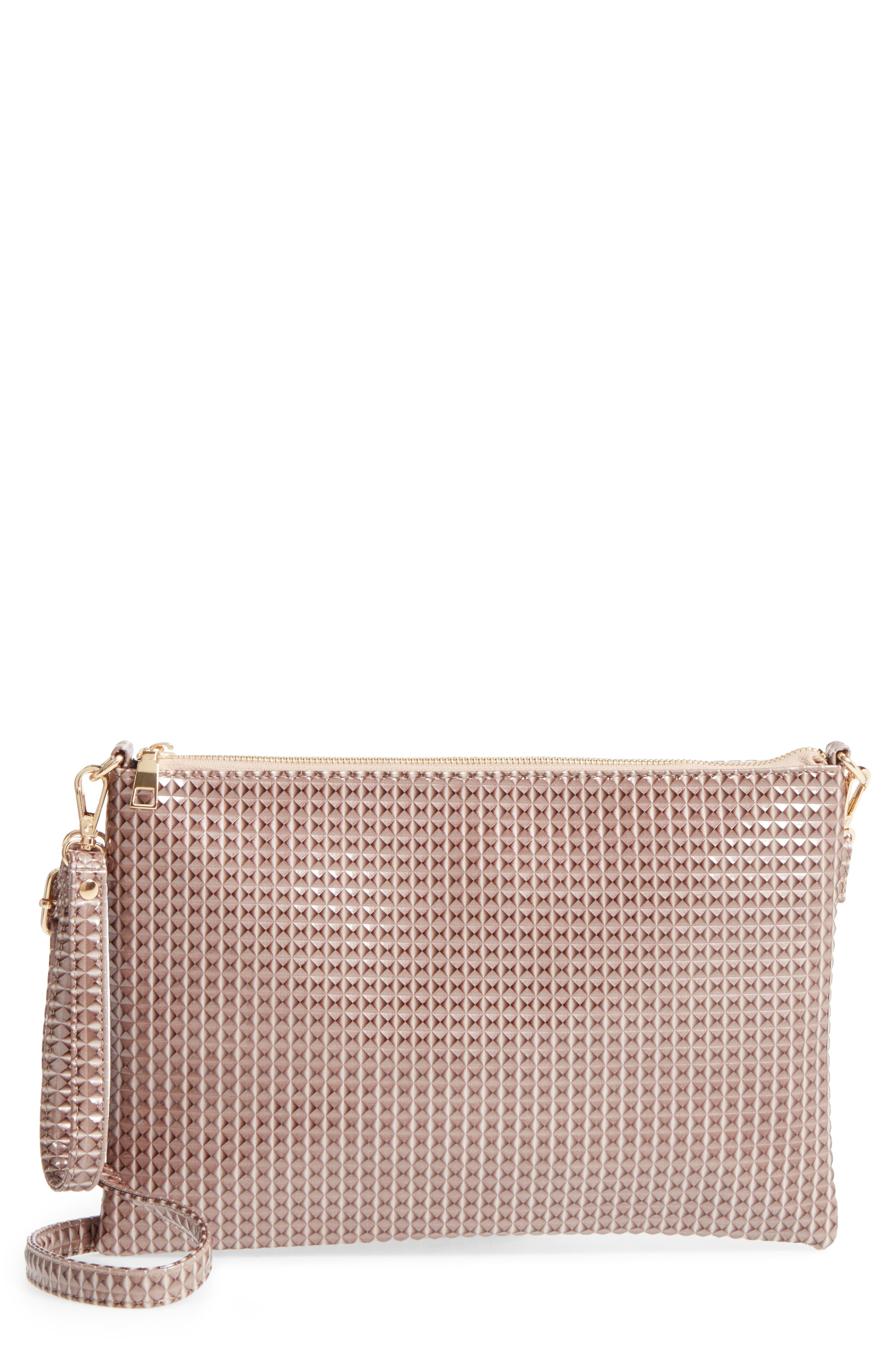 Large Textured Pouch Clutch,                             Main thumbnail 1, color,