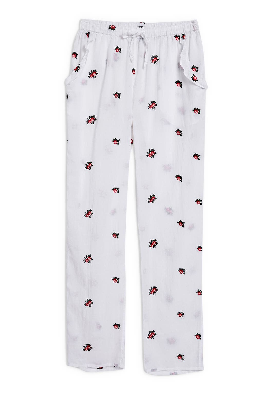 TOPSHOP,                             Embroidered Floral Ankle Pajama Pants,                             Alternate thumbnail 4, color,                             100