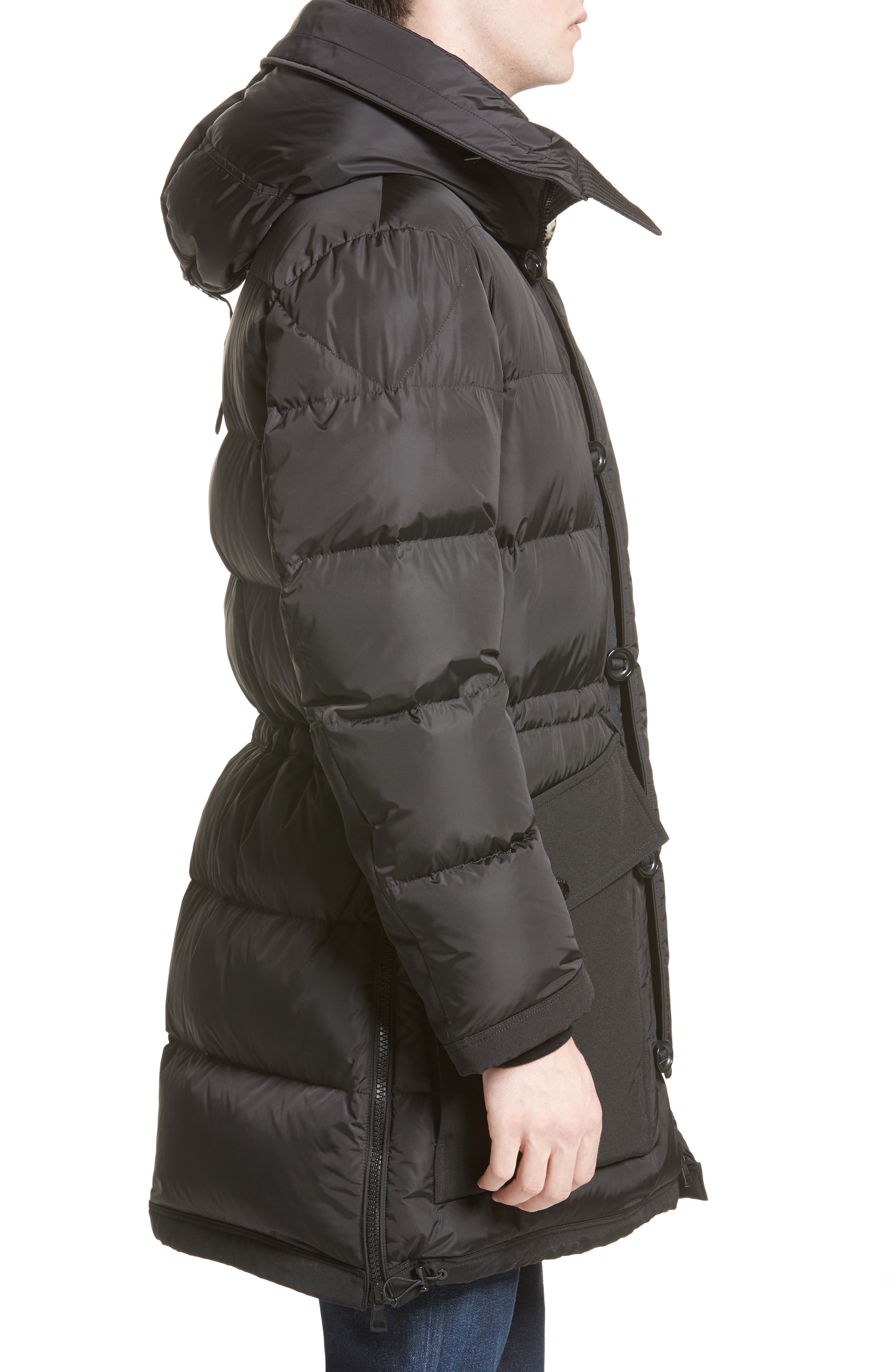 Loic High Neck Down Coat with Genuine Shearling Trim,                             Alternate thumbnail 3, color,                             001