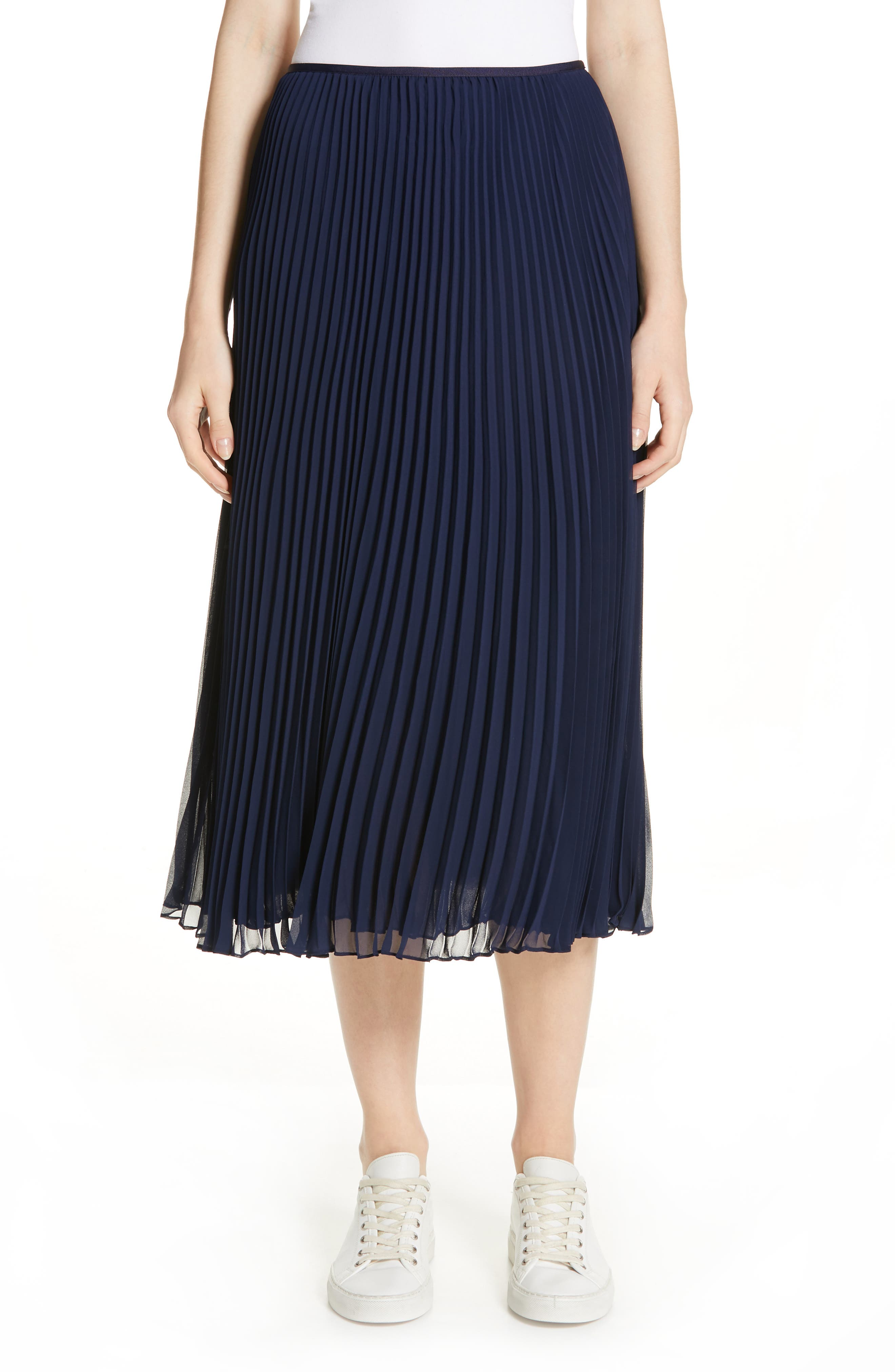 Long A-Line Pleated Skirt in Cruise Navy