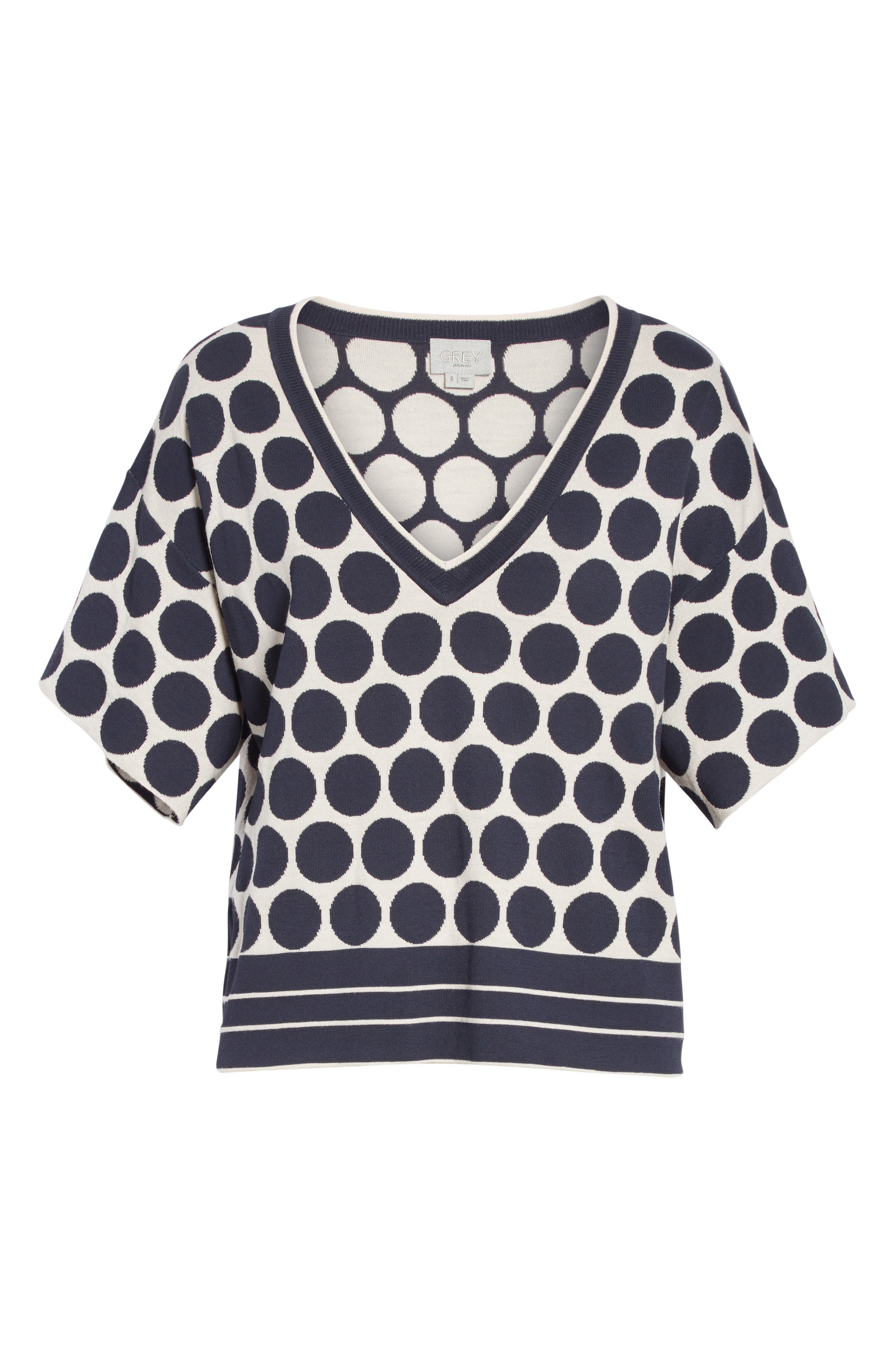 Polka Dot V-Neck Tee,                             Alternate thumbnail 6, color,