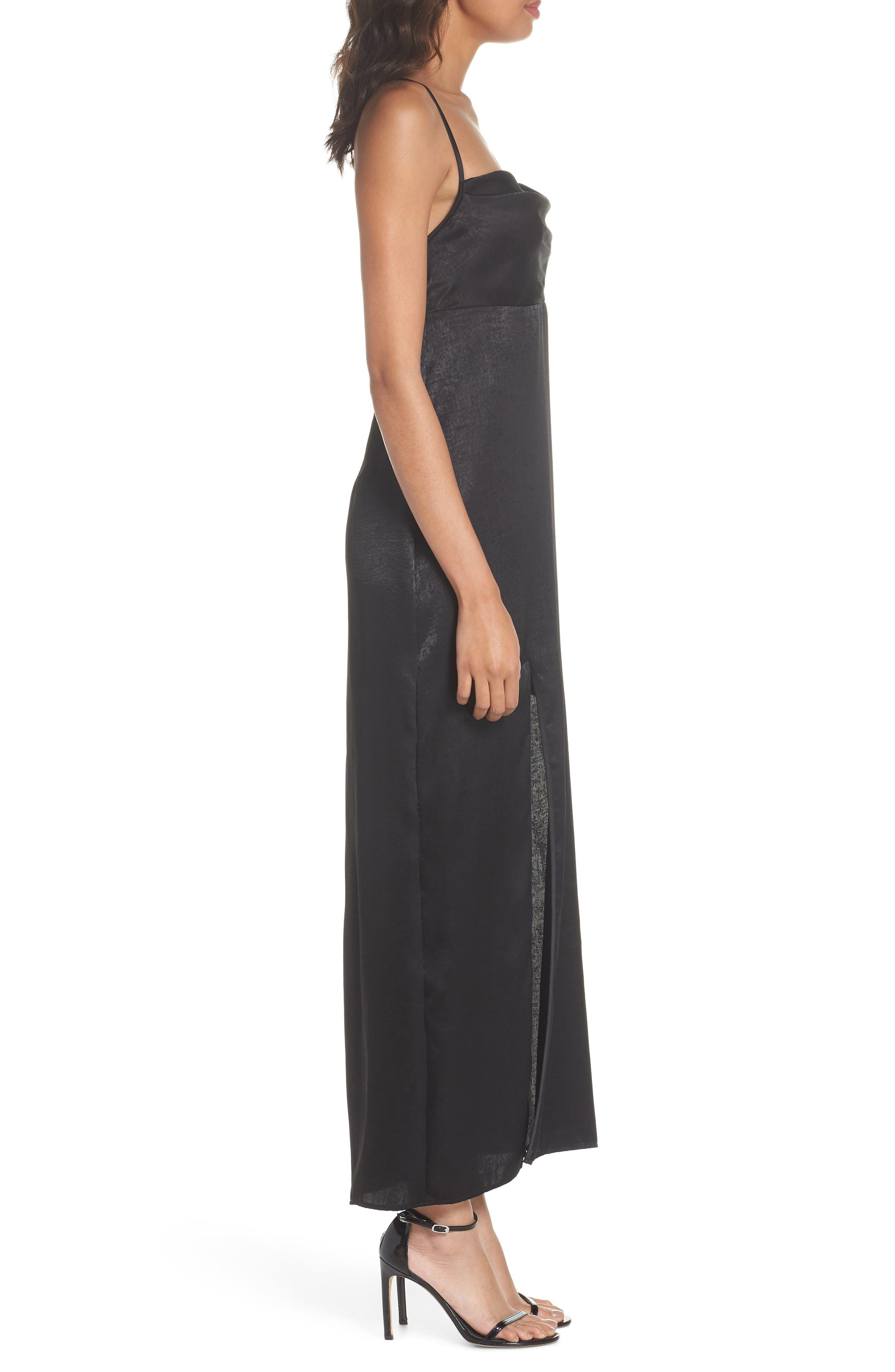 Winslet Gown,                             Alternate thumbnail 3, color,                             BLACK SHEEN