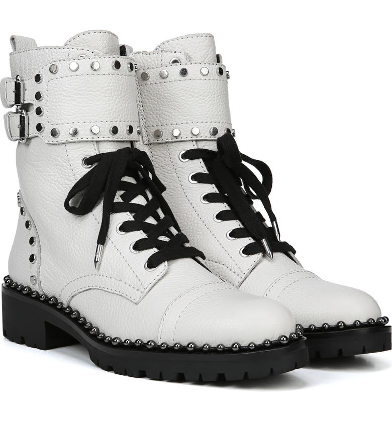 8b2decf7c7e92a Shop Sam Edelman Jennifer Studded Combat Boot In White Leather