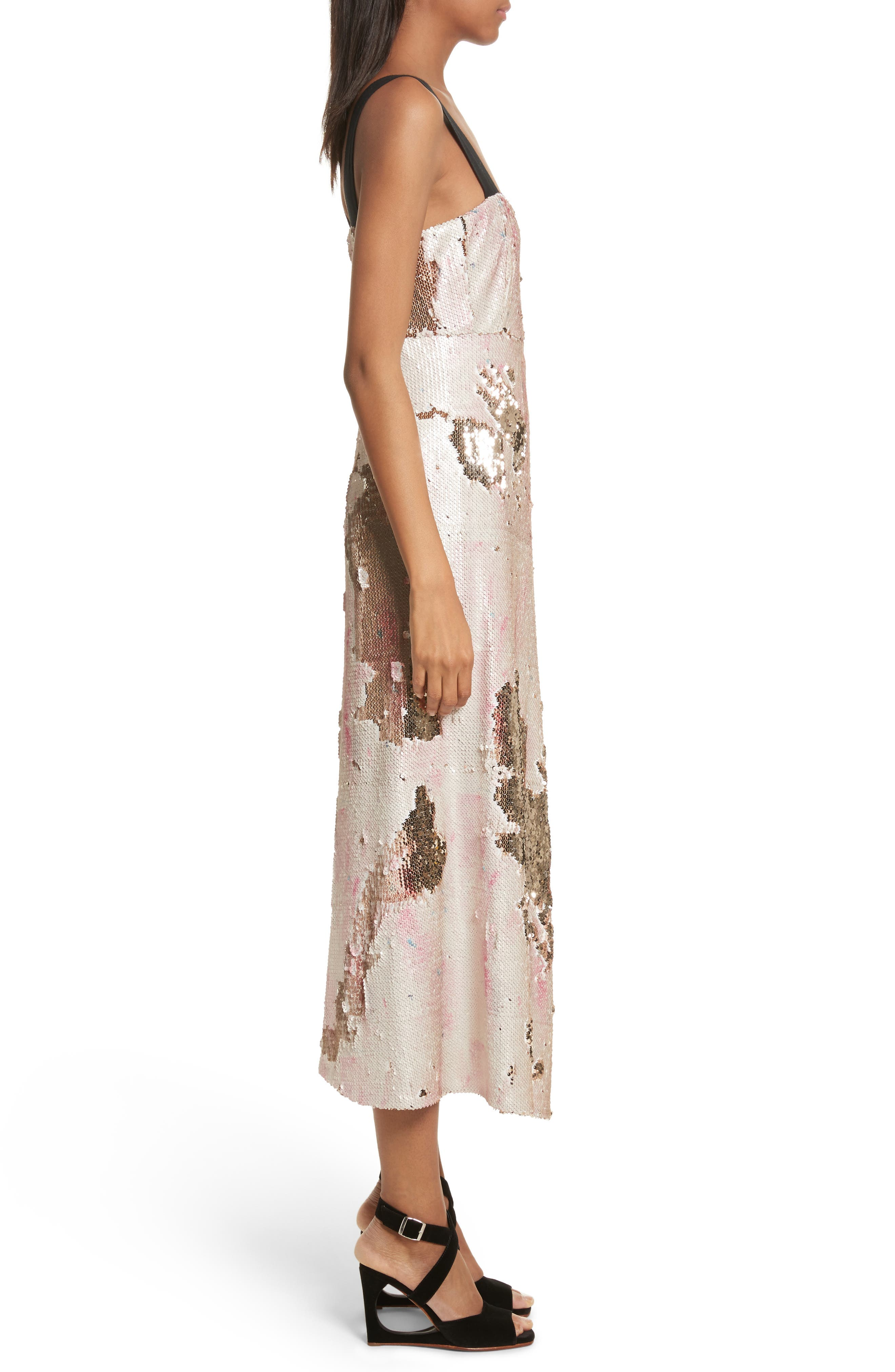 Slacken Sequined Dress,                             Alternate thumbnail 3, color,                             658