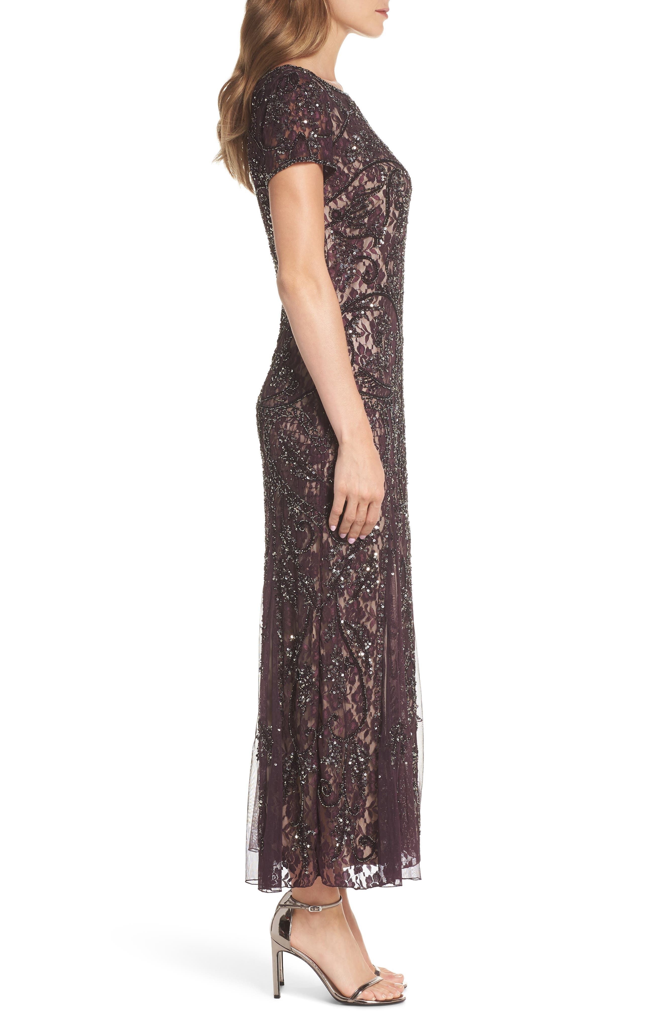 Embellished Lace Gown,                             Alternate thumbnail 3, color,                             502