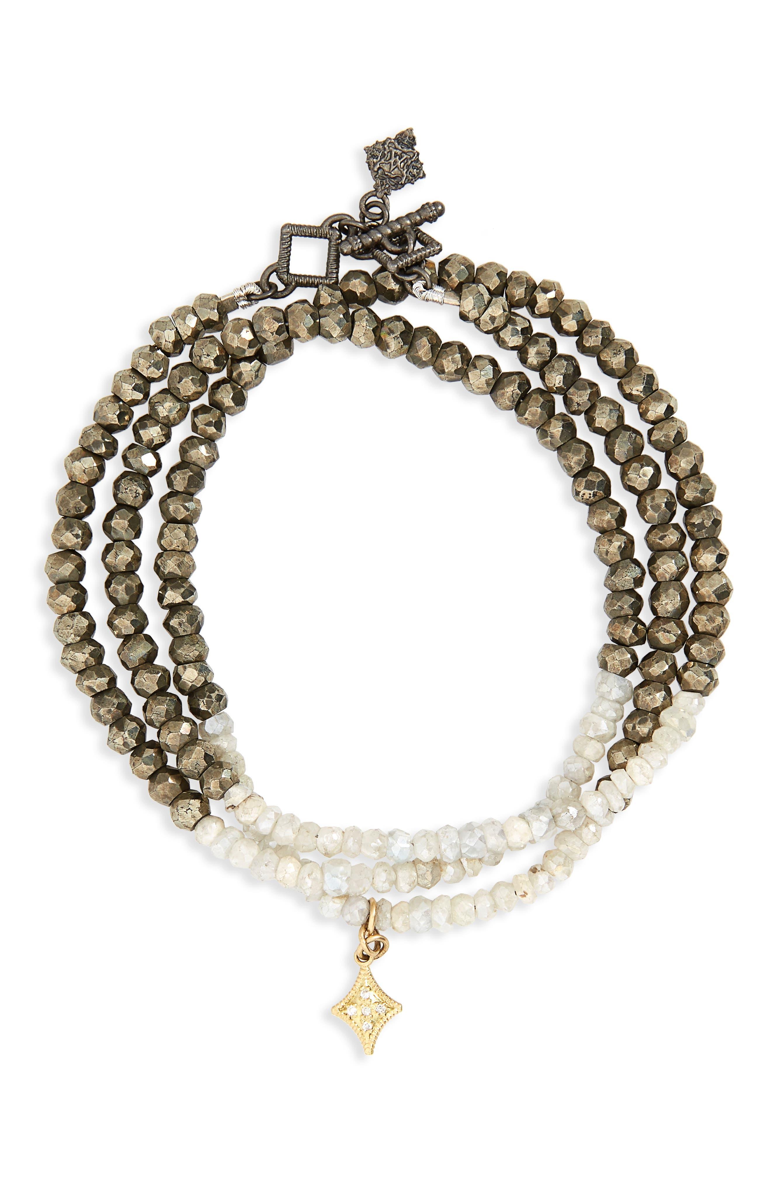 Old World Triple Wrap Bead Bracelet,                         Main,                         color, PYRITE/ WHITE SILVERITE