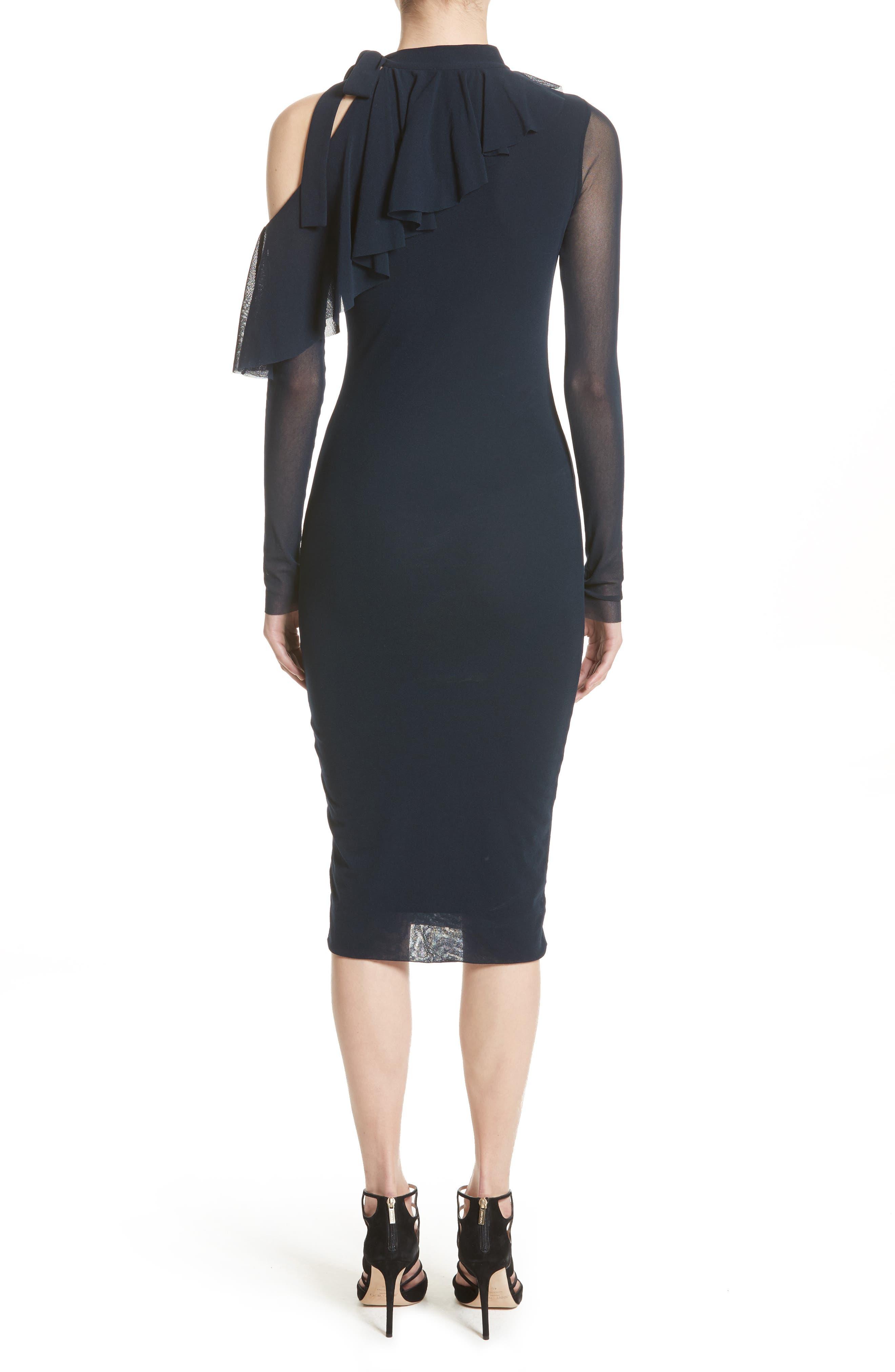 Tulle One-Shoulder Midi Dress,                             Alternate thumbnail 2, color,                             410
