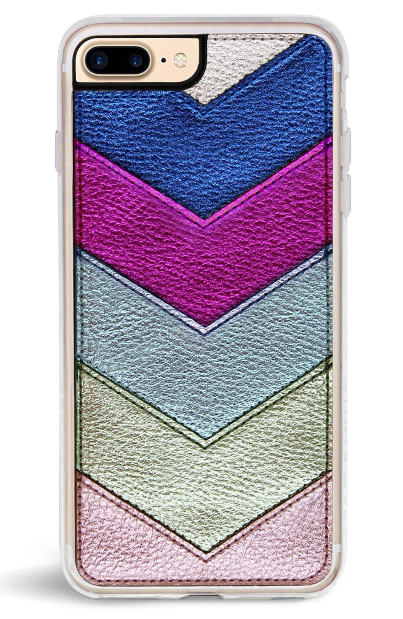 Chevron Faux Leather iPhone 6/6s/7/8 & 6/6s/7/8 Plus Case,                             Alternate thumbnail 7, color,                             650