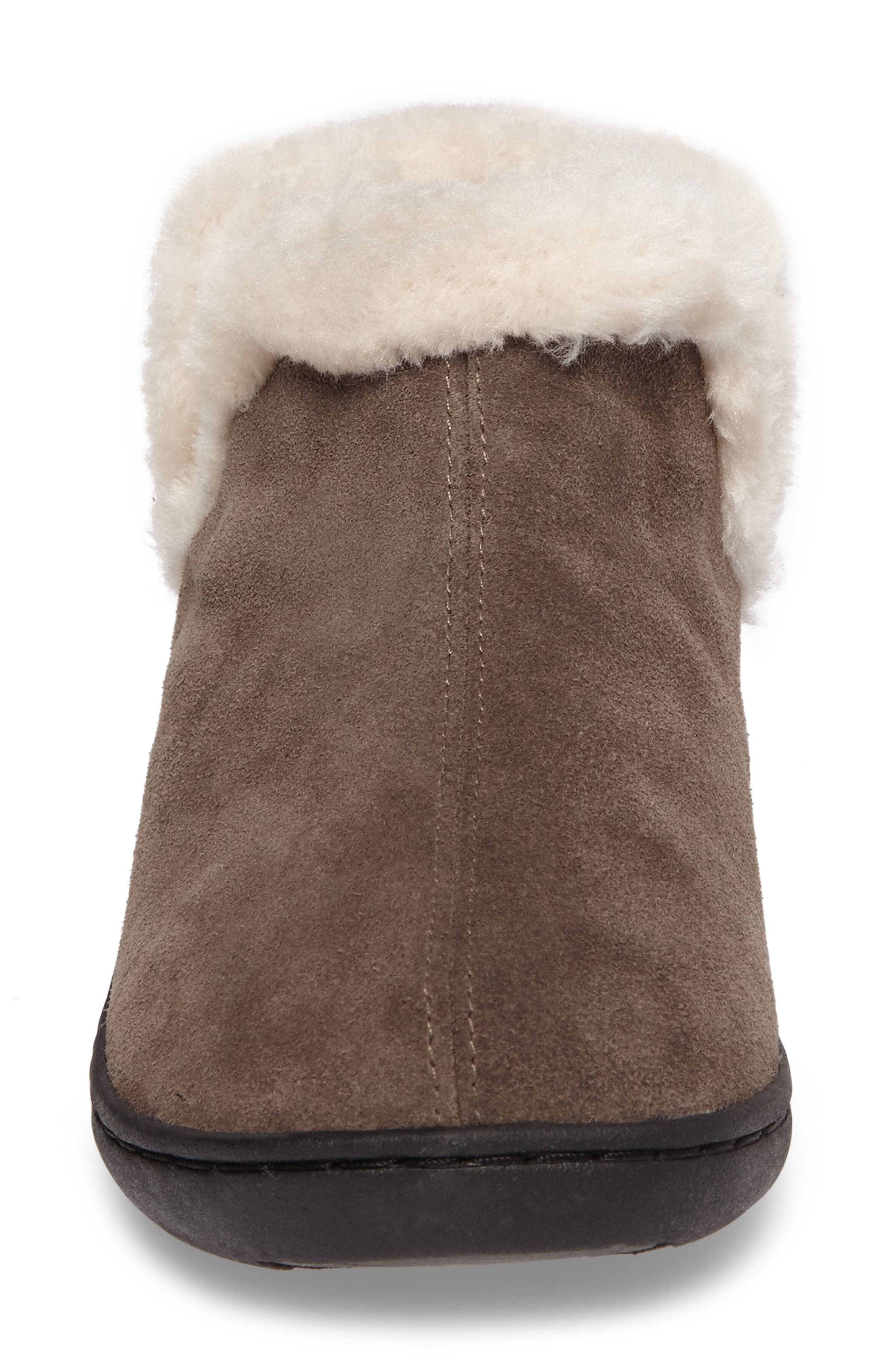 Vallery Bootie Slipper,                             Alternate thumbnail 4, color,                             GRAY SUEDE