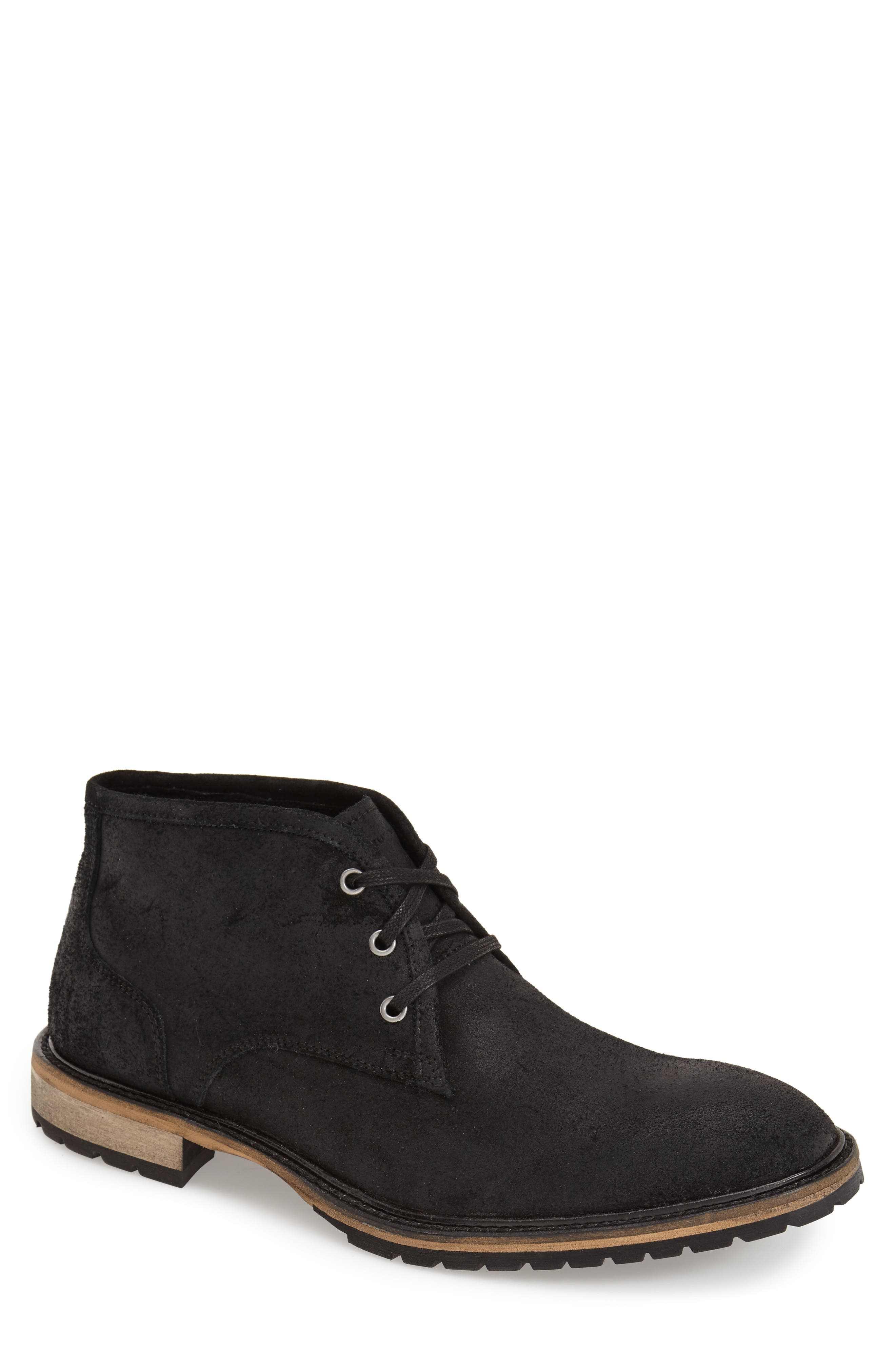 Woodside Chukka Boot,                             Alternate thumbnail 4, color,                             BLACK/ DEEP NATURAL SUEDE