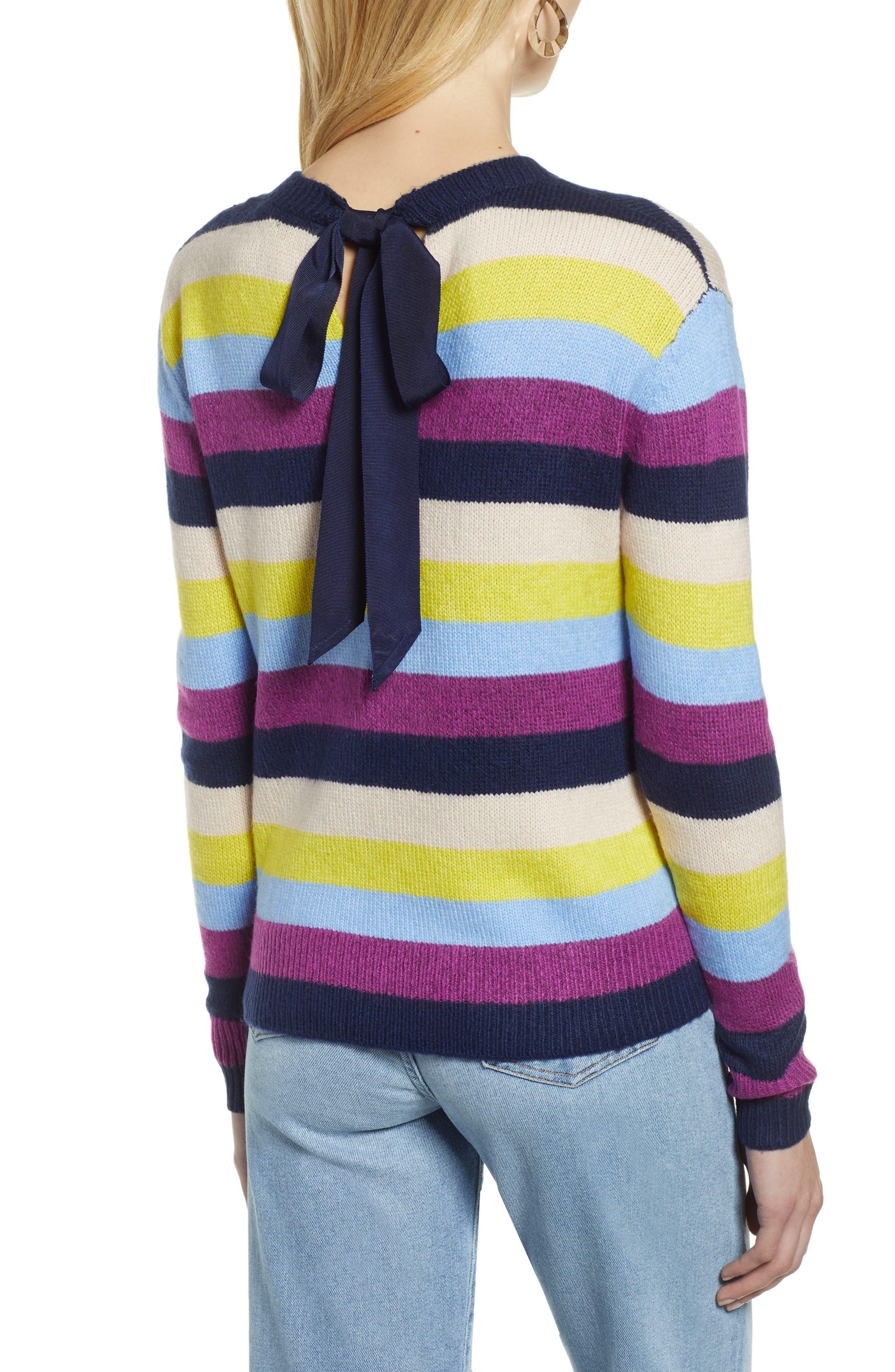 Bow Back Sweater,                             Alternate thumbnail 2, color,                             NAVY MULTI STRIPE