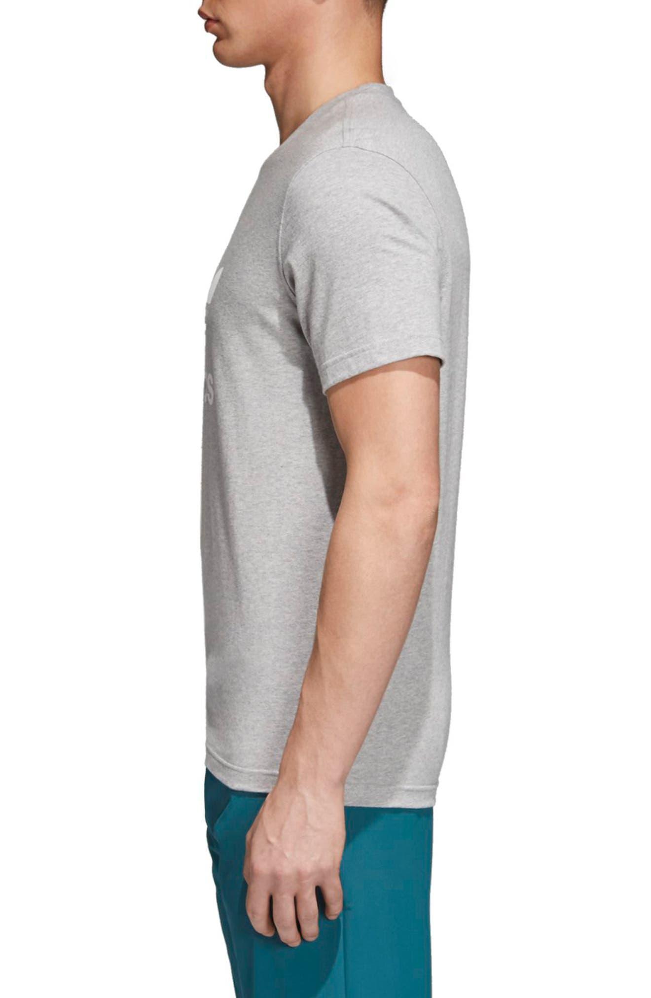 Trefoil T-Shirt,                             Alternate thumbnail 3, color,                             MEDIUM GREY HEATHER