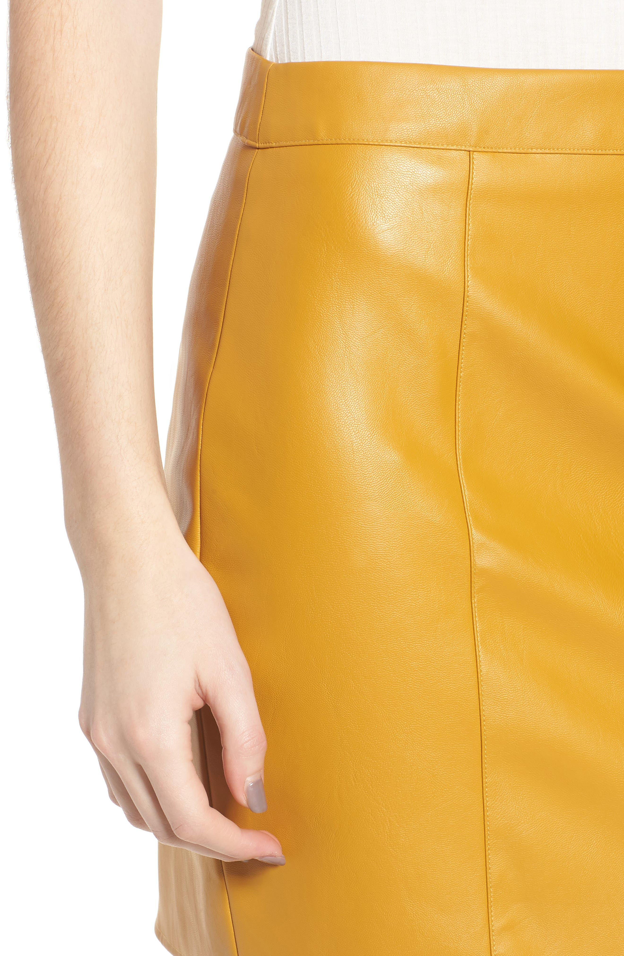 Bishop + Young Faux Leather Miniskirt,                             Alternate thumbnail 4, color,                             MUSTARD