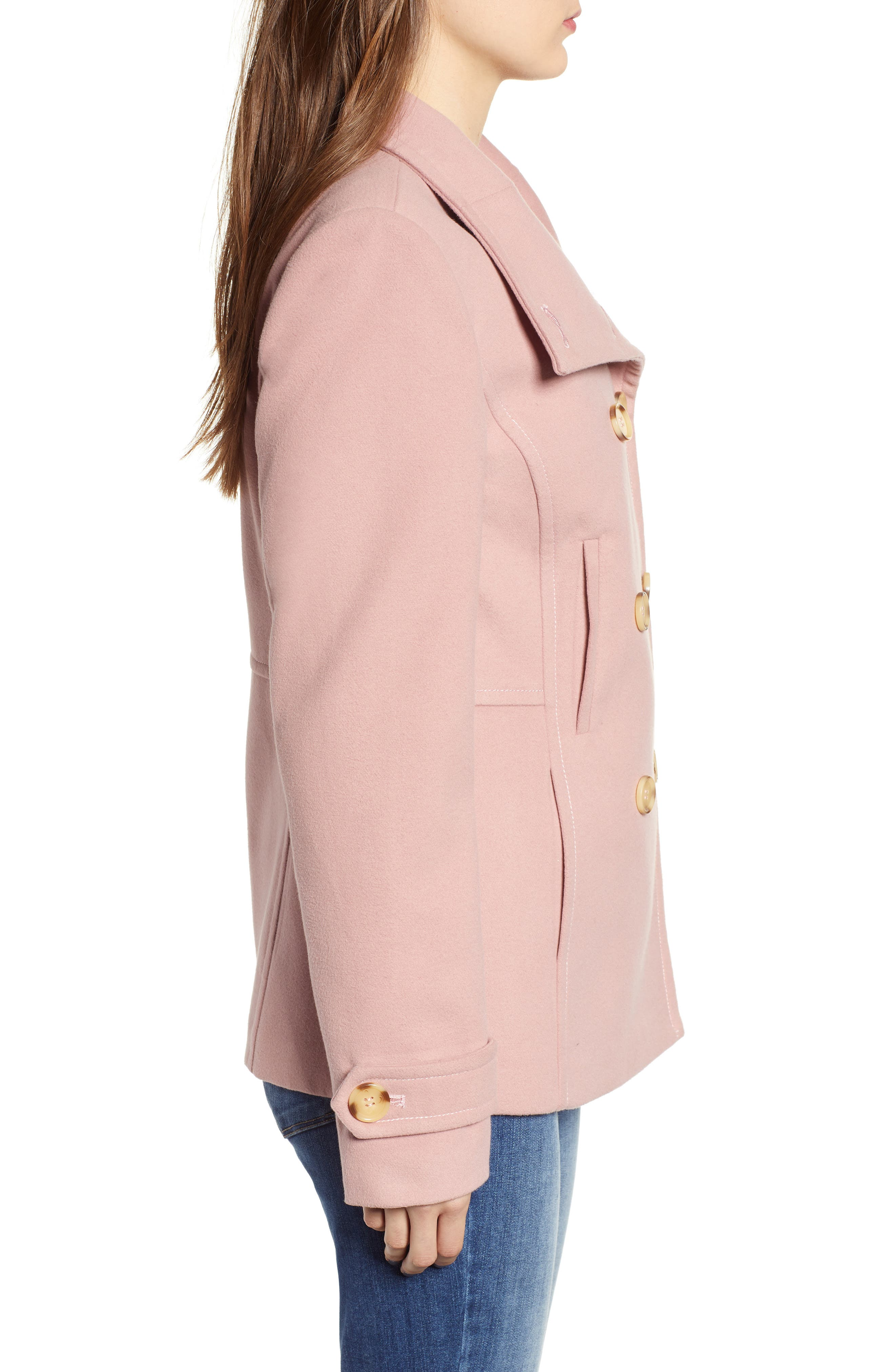 THREAD & SUPPLY,                             Double Breasted Peacoat,                             Alternate thumbnail 4, color,                             BLUSH