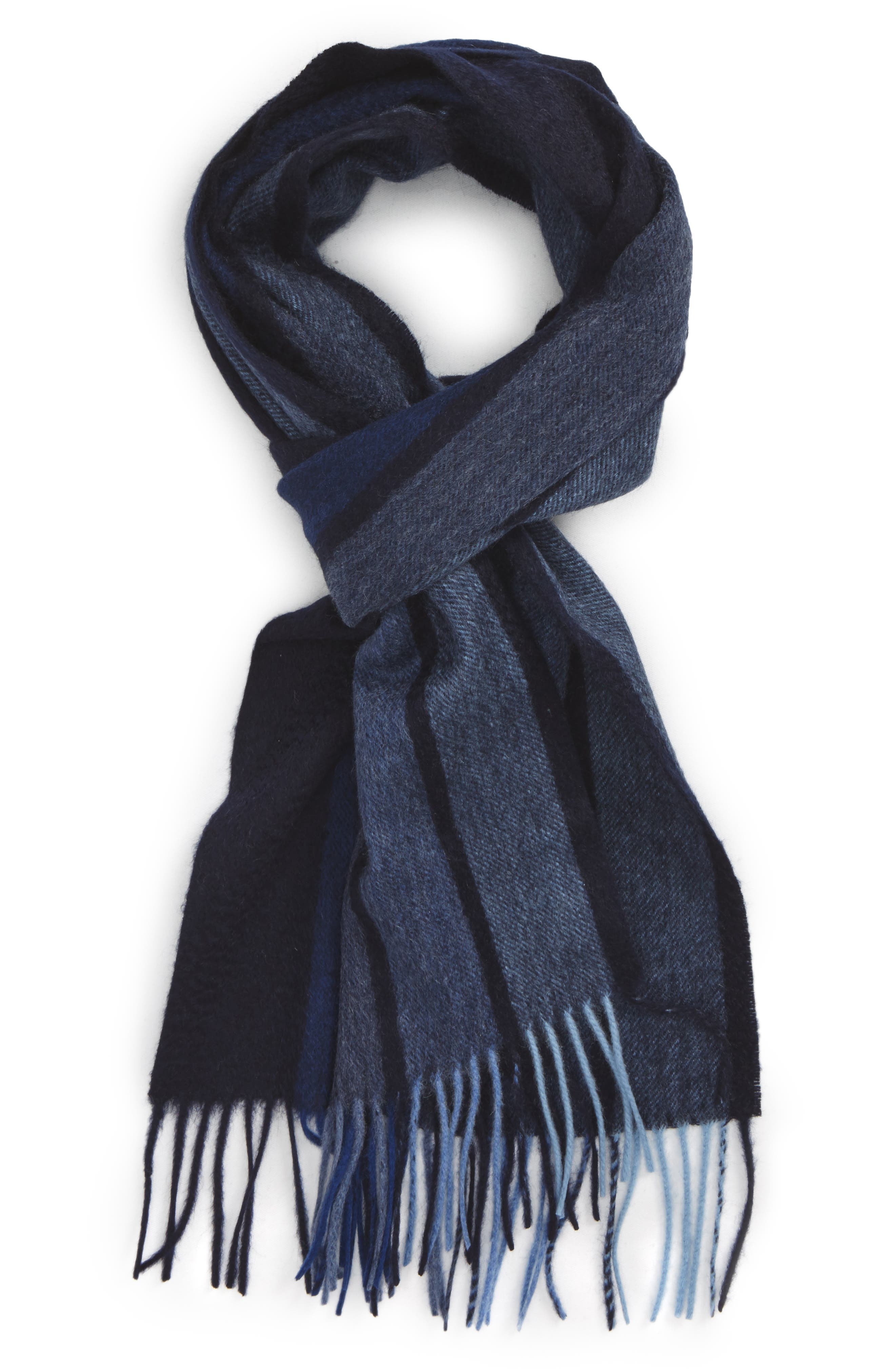 Stripe Cashmere Scarf,                         Main,                         color, NAVY VERTICAL BLOCK STRIPE