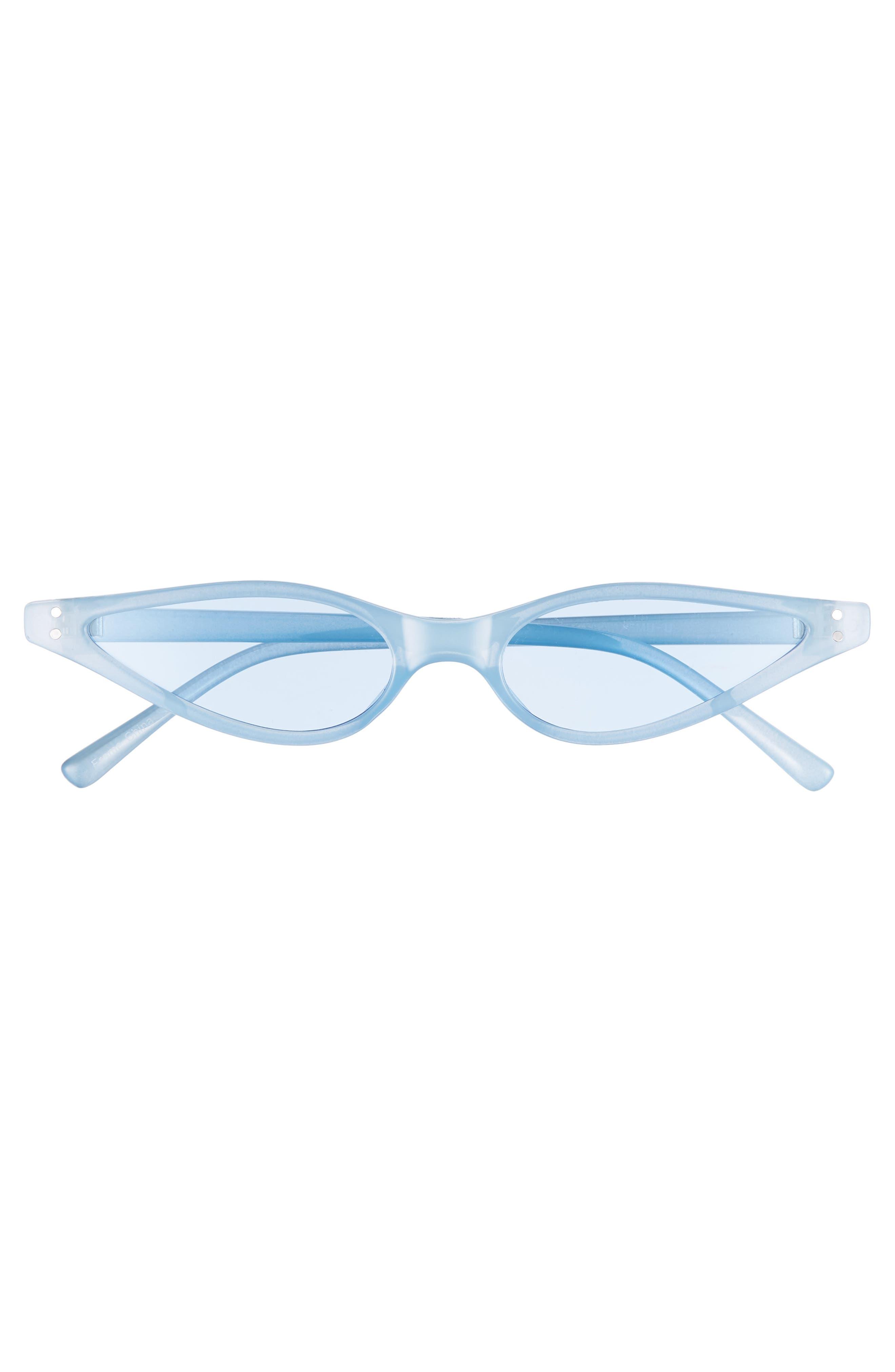 Exaggerated 54mm Mini Cat Eye Sunglasses,                             Alternate thumbnail 3, color,                             BLUE