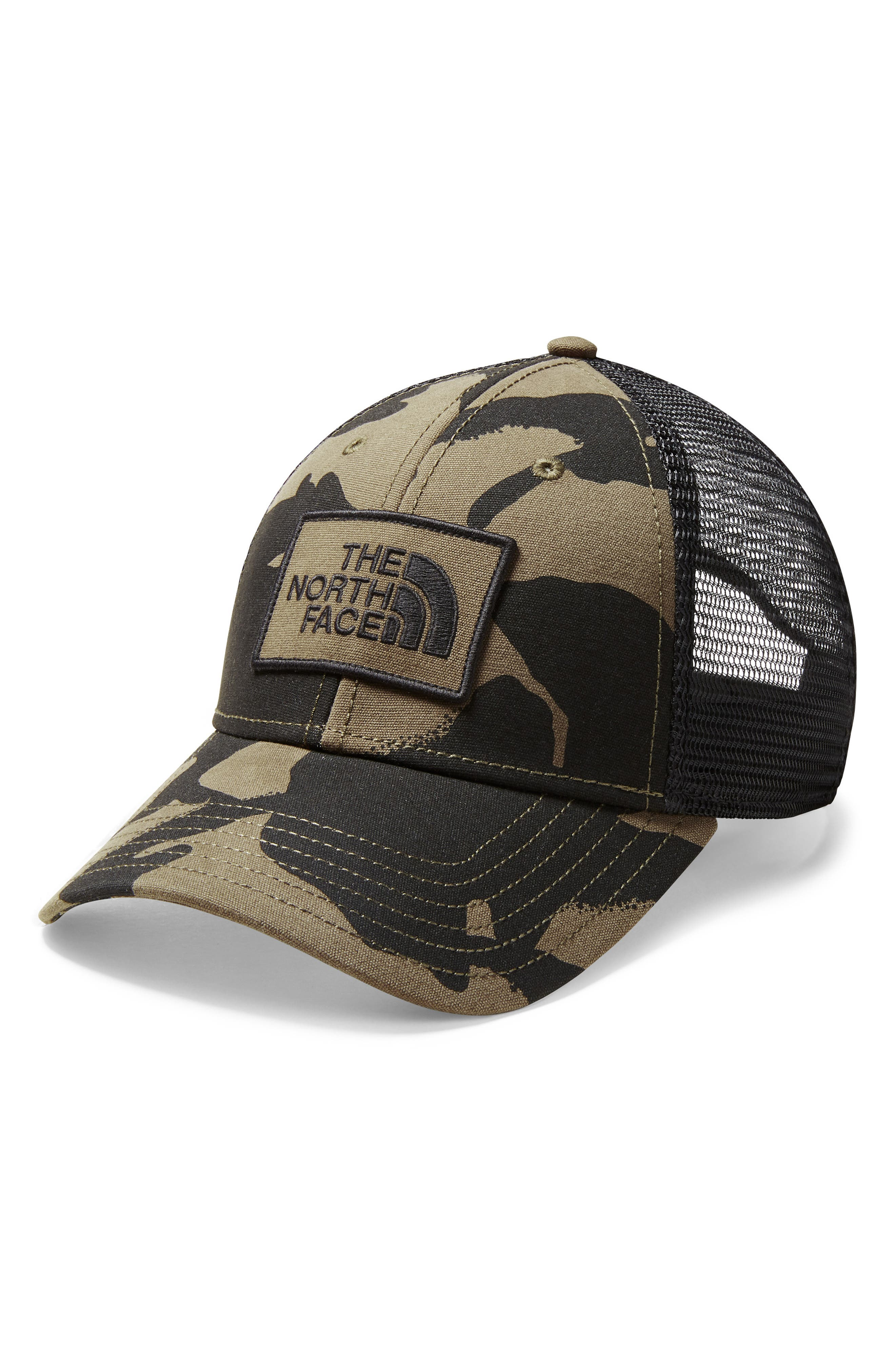 Print Mudder Trucker Hat,                         Main,                         color, BURNT OLIVE GREEN DISRUPT CAMO