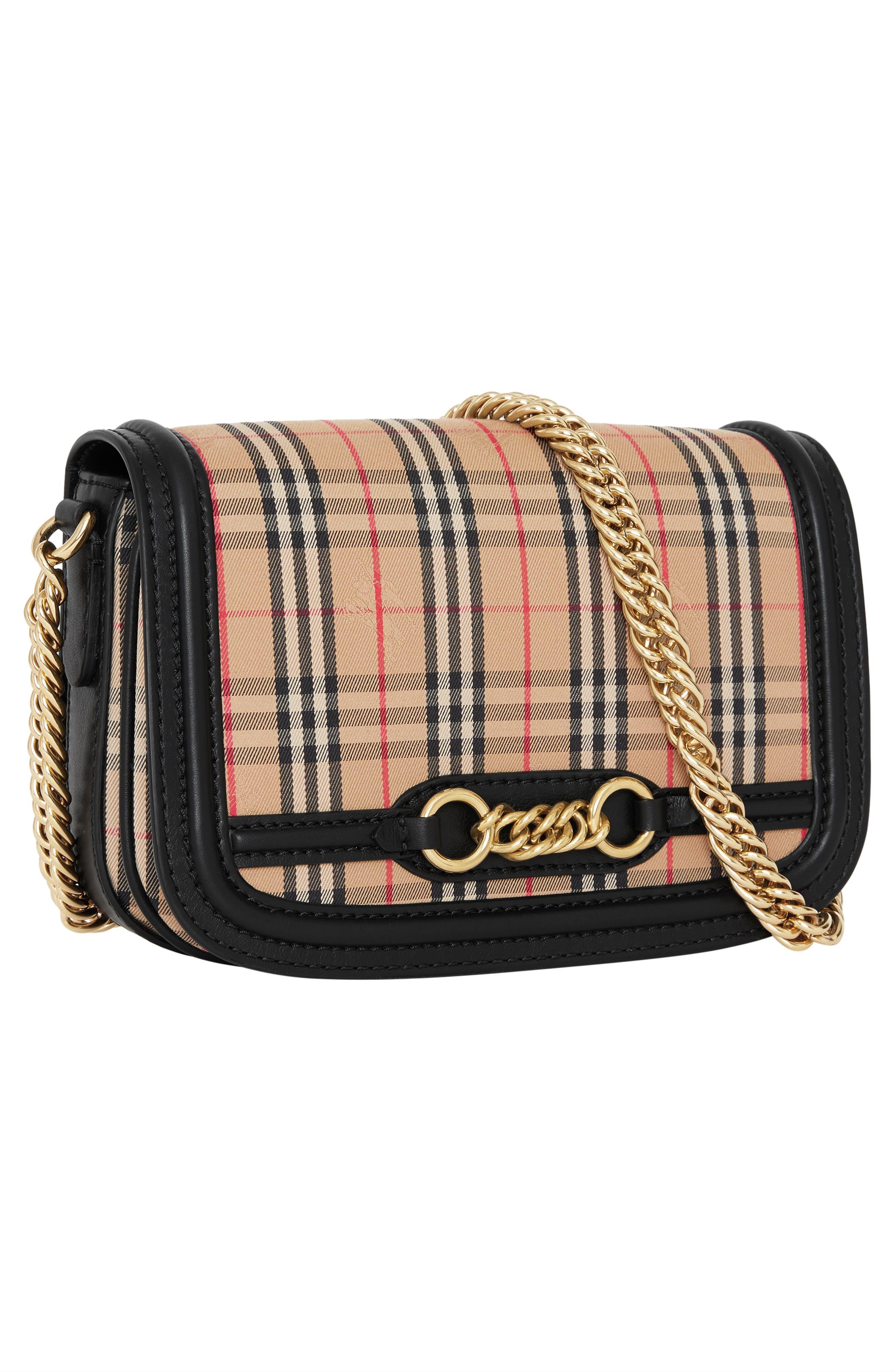 Vintage Check Link Flap Crossbody Bag,                             Alternate thumbnail 5, color,                             BLACK