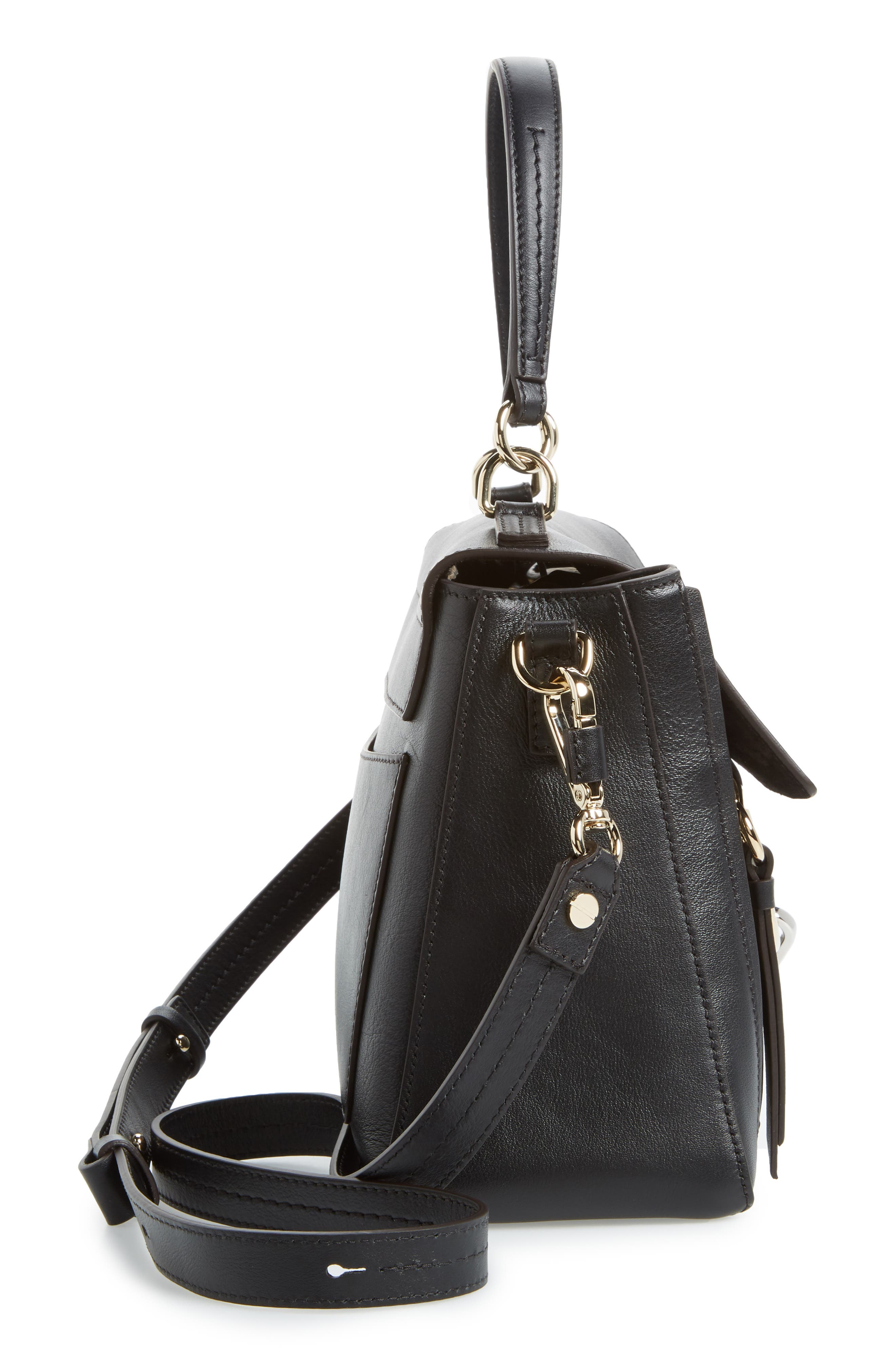 Small Faye Day Leather Shoulder Bag,                             Alternate thumbnail 5, color,                             BLACK