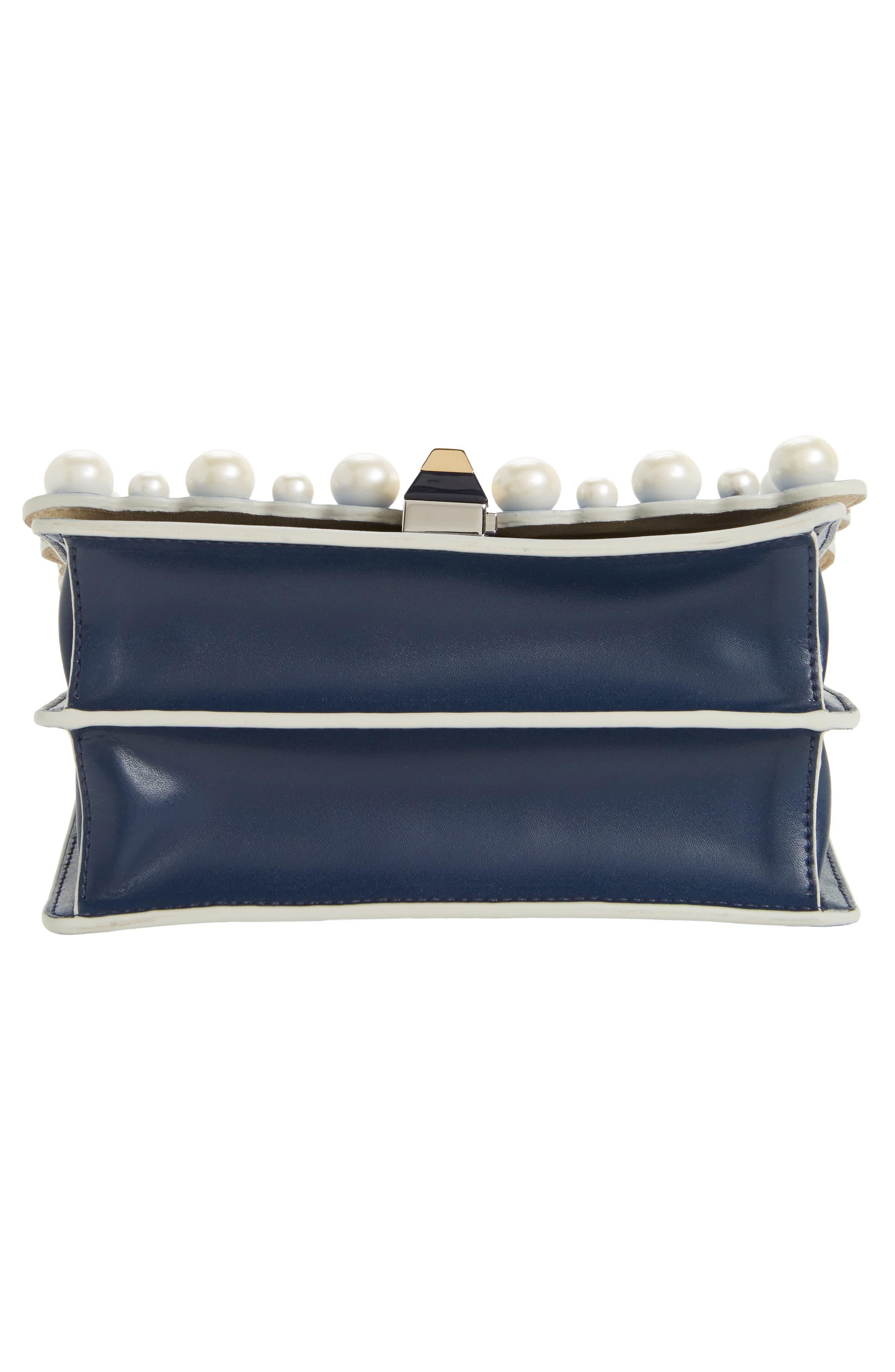 Mini Kan I Imitation Pearl Scallop Leather Shoulder Bag,                             Alternate thumbnail 6, color,                             BLUE
