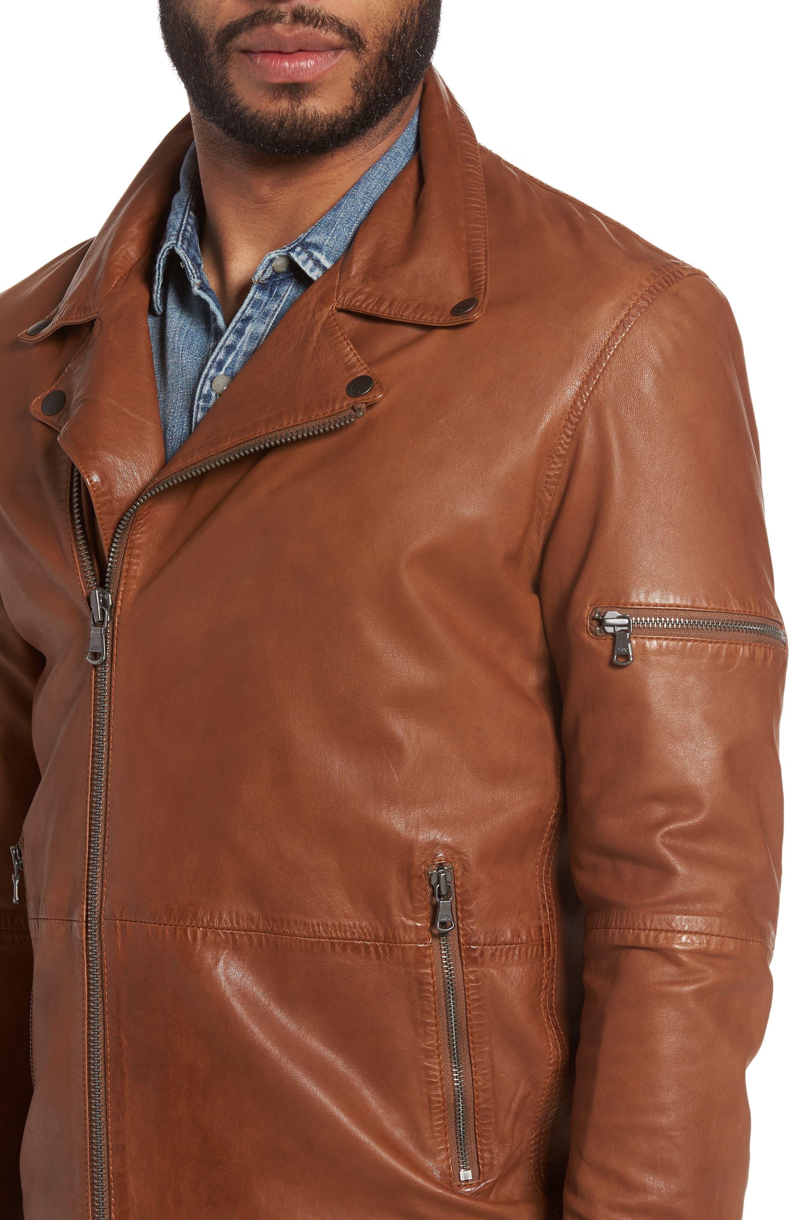 Leather Moto Jacket,                             Alternate thumbnail 4, color,                             240