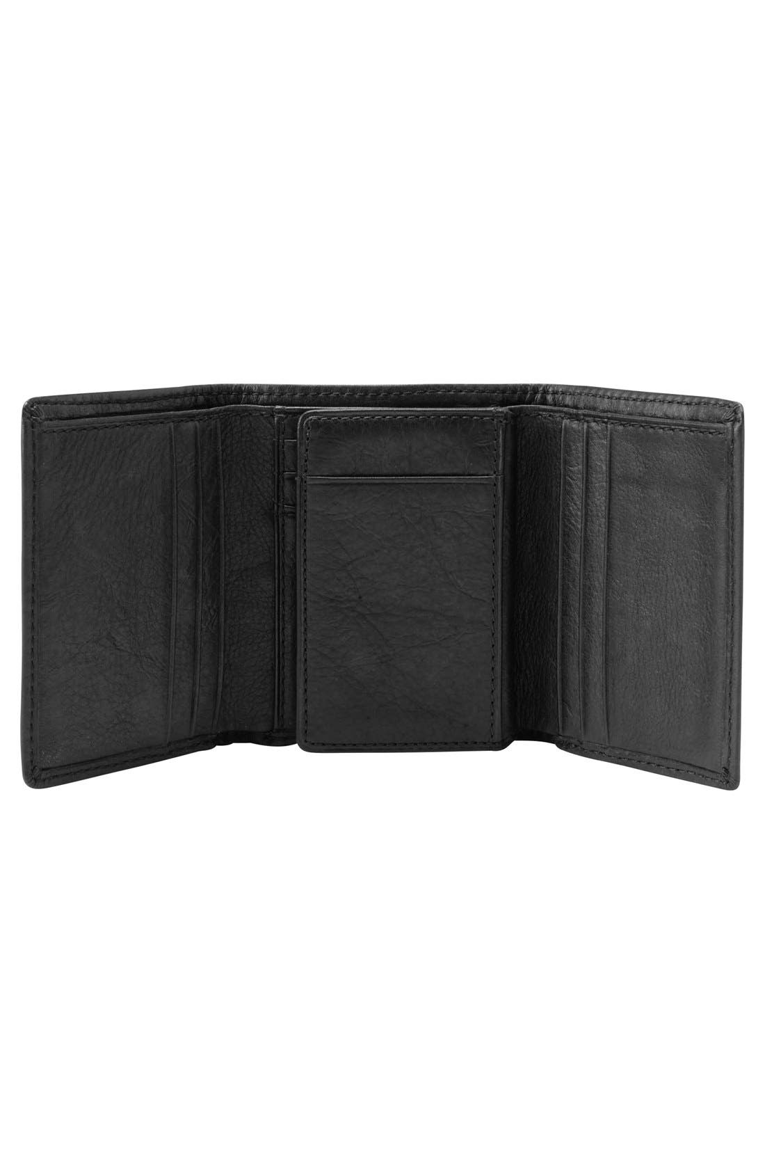 FOSSIL,                             'Ingram' Leather Trifold Wallet,                             Alternate thumbnail 2, color,                             001