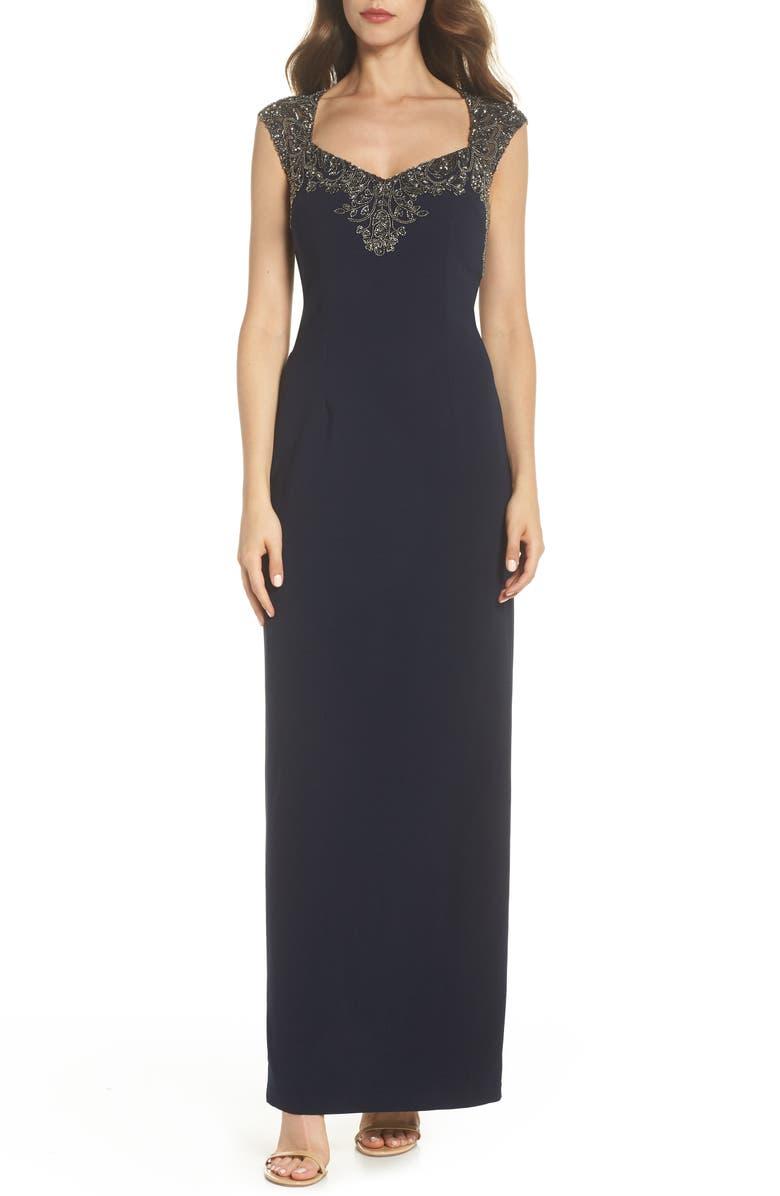 Adrianna Papell Beaded Bodice Column Gown (Regular & Petite) | Nordstrom