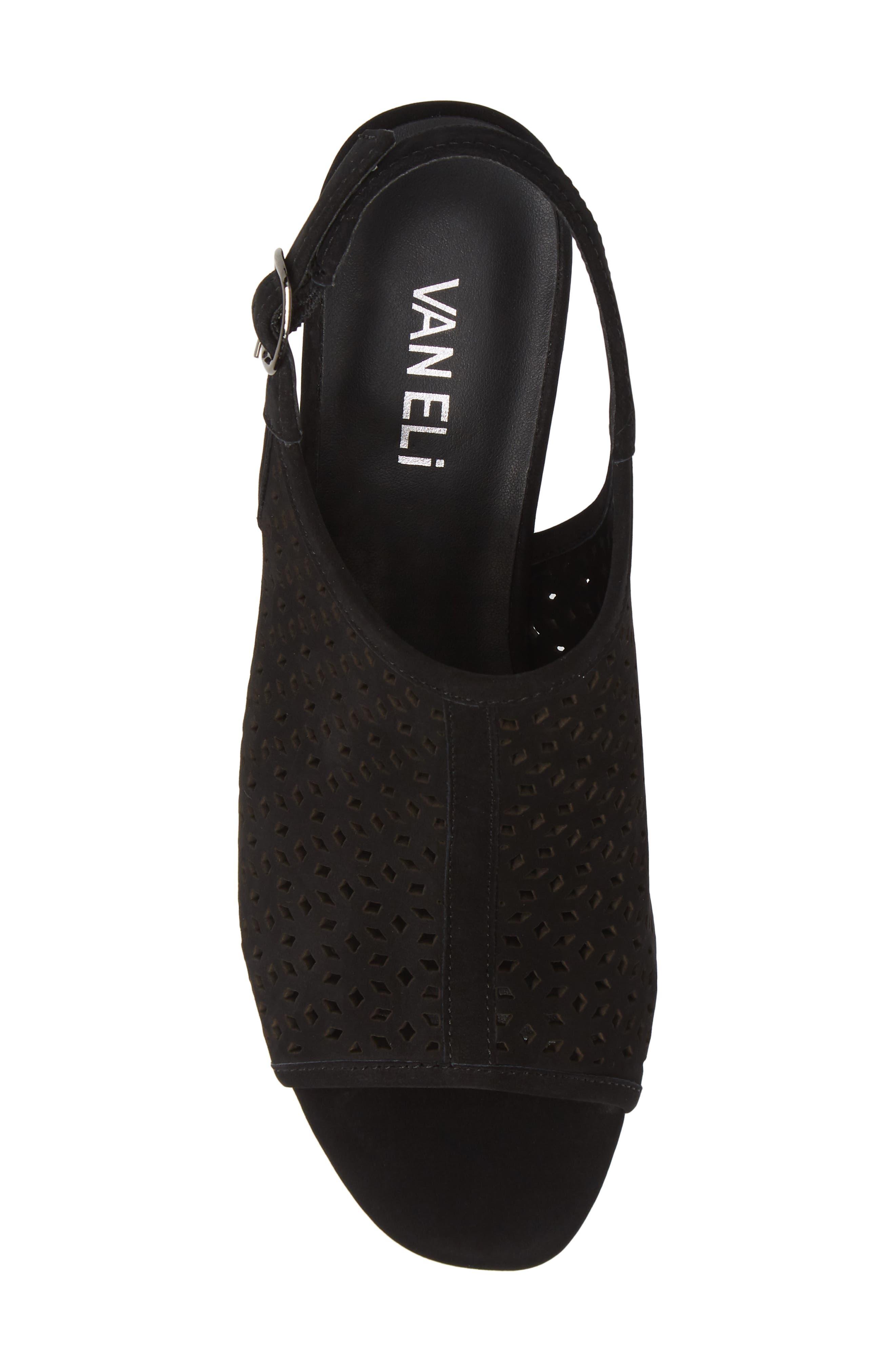 Candra Perforated Sandal,                             Alternate thumbnail 5, color,                             BLACK NUBUCK LEATHER