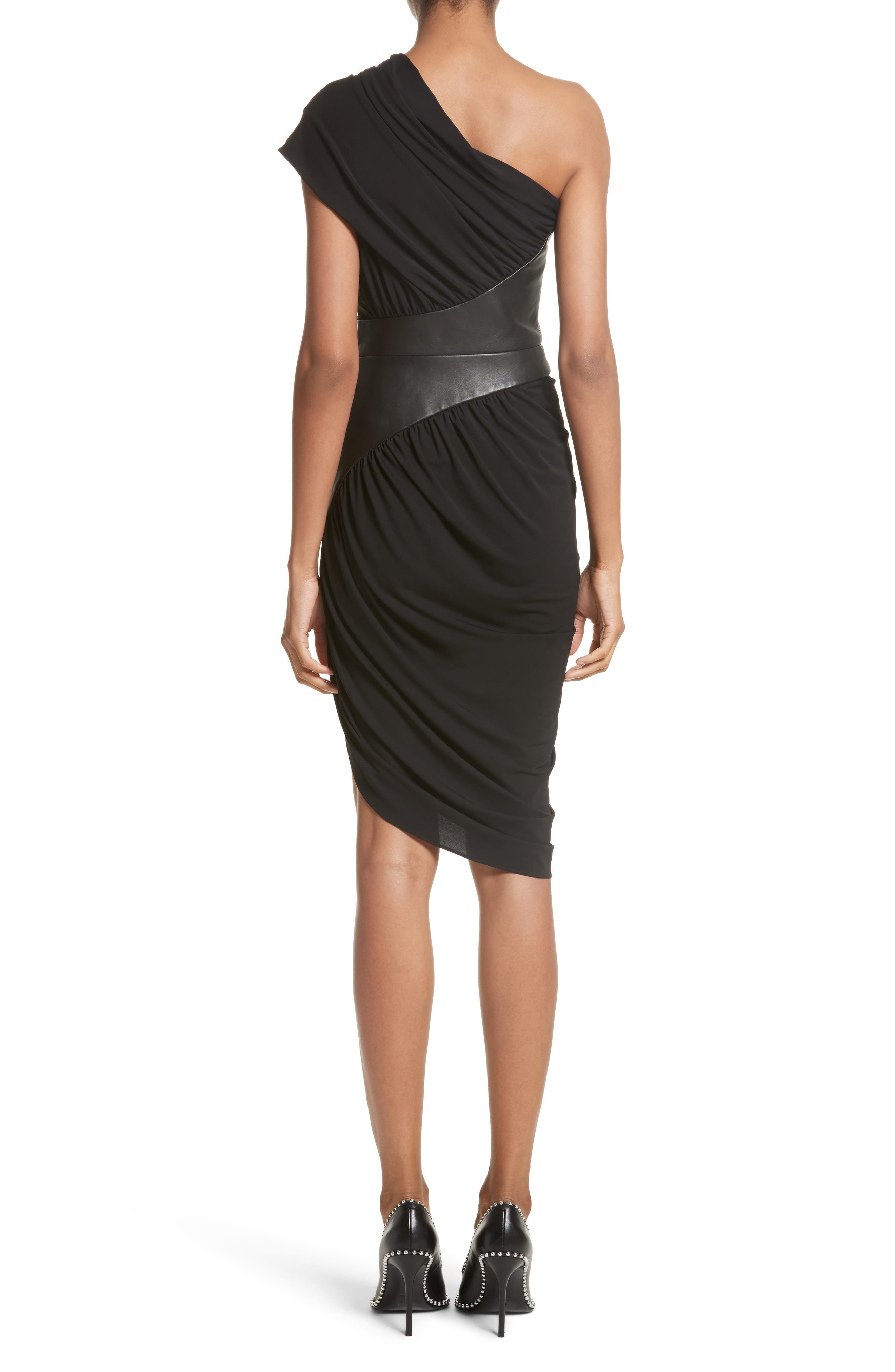 Leather Detail Draped One-Shoulder Dress,                             Alternate thumbnail 2, color,                             001