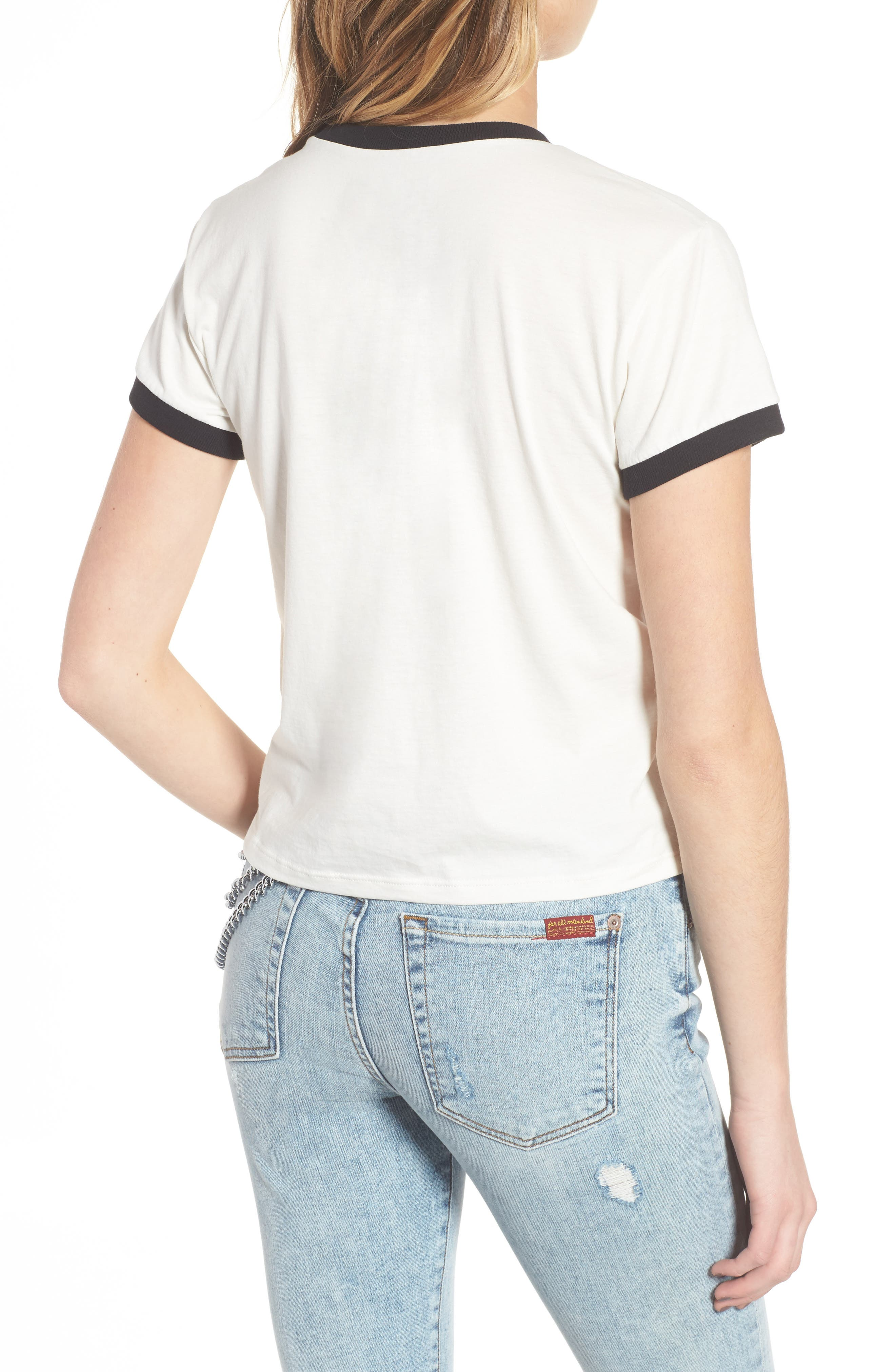 Embroidered Ringer Tee,                             Alternate thumbnail 2, color,                             100