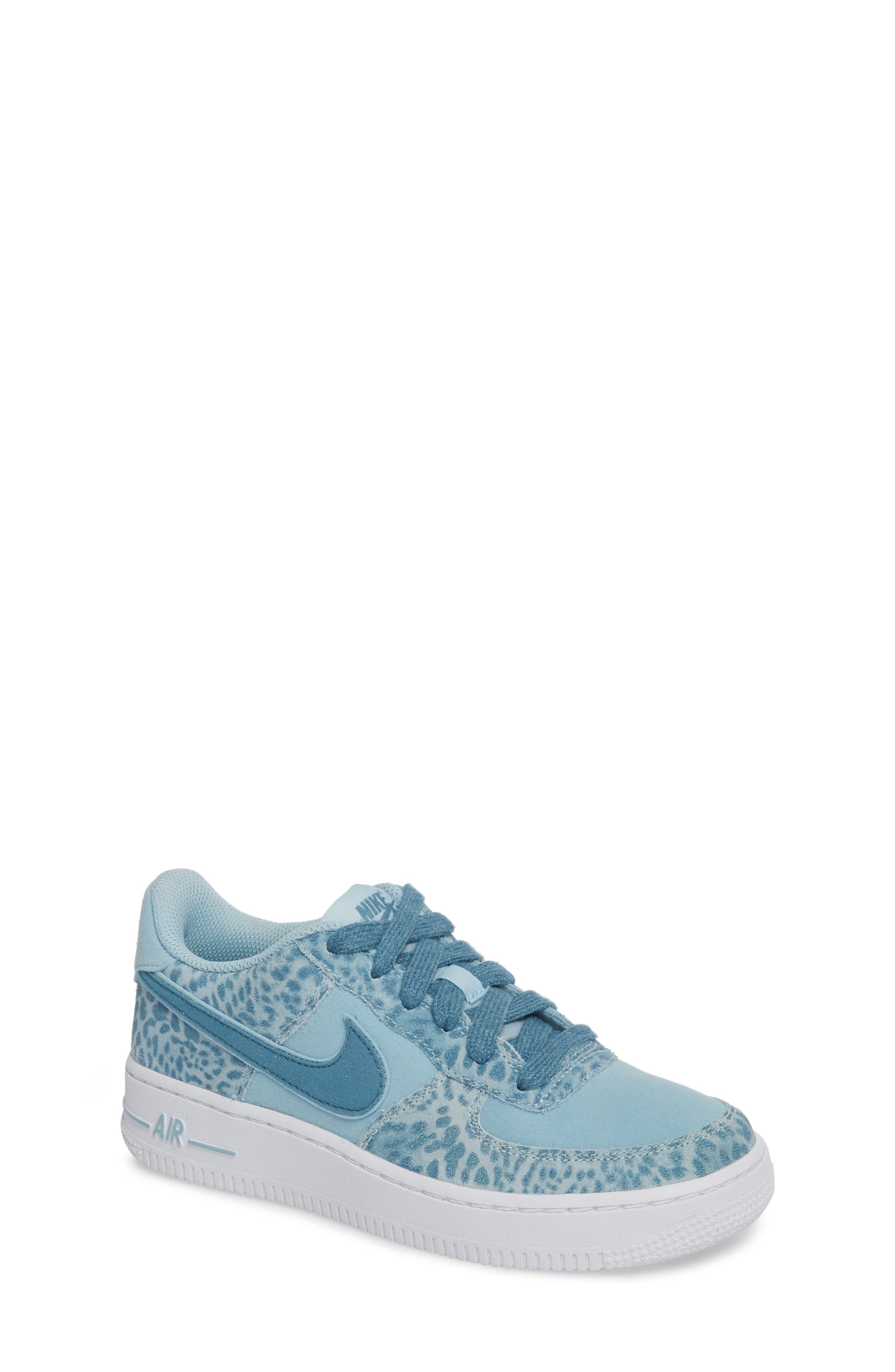 Air Force 1 LV8 Sneaker,                             Main thumbnail 1, color,                             OCEAN BLISS/ NOISE AQUA/ WHITE
