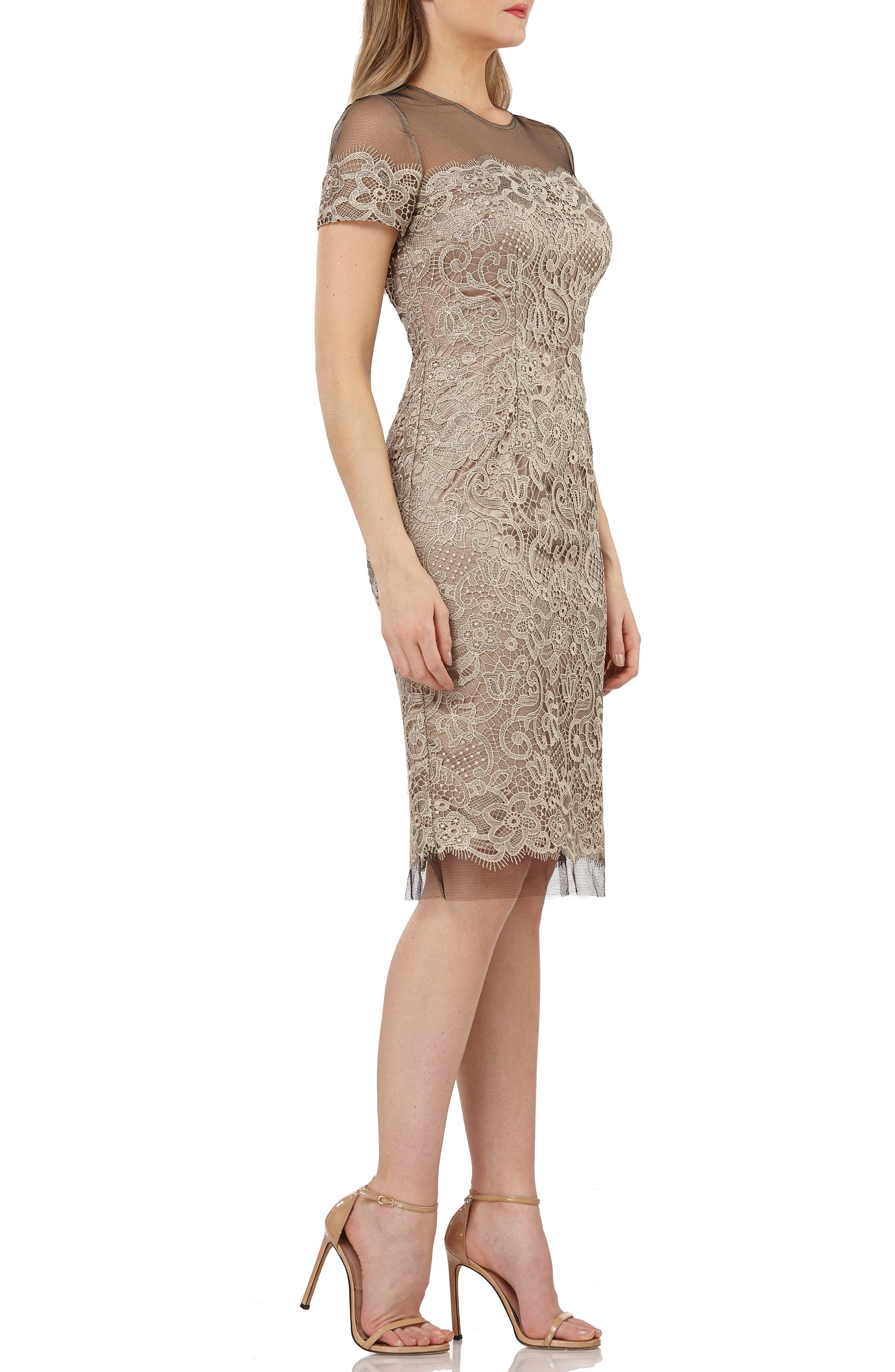JS COLLECTIONS,                             Embroidered Lace Sheath Dress,                             Alternate thumbnail 3, color,                             BLACK/ OYSTER