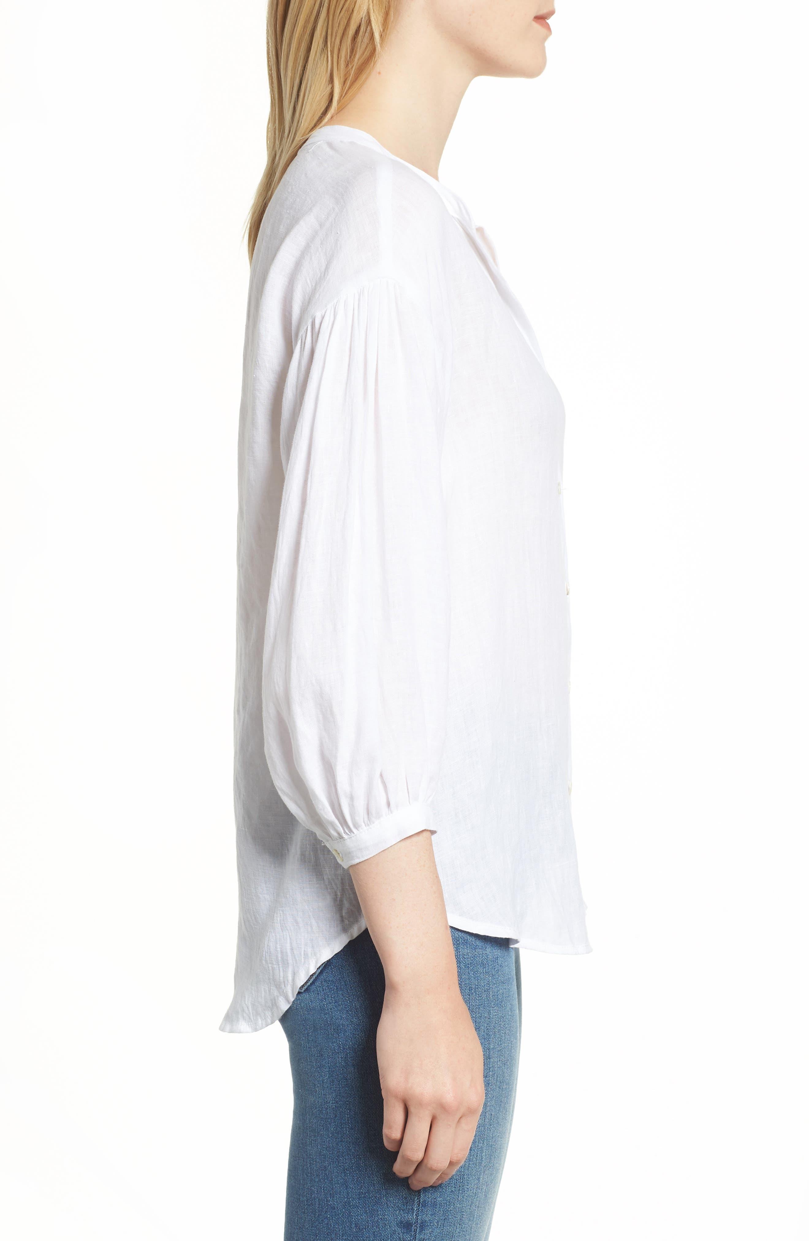 Linen Shirt,                             Alternate thumbnail 3, color,                             WHITE