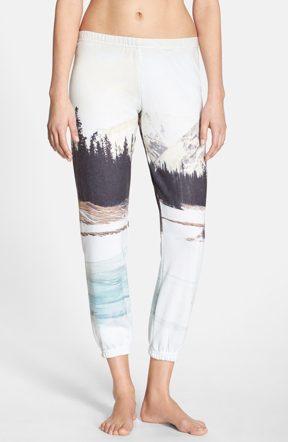 Landscape Print Sweatpants, Main, color, 100