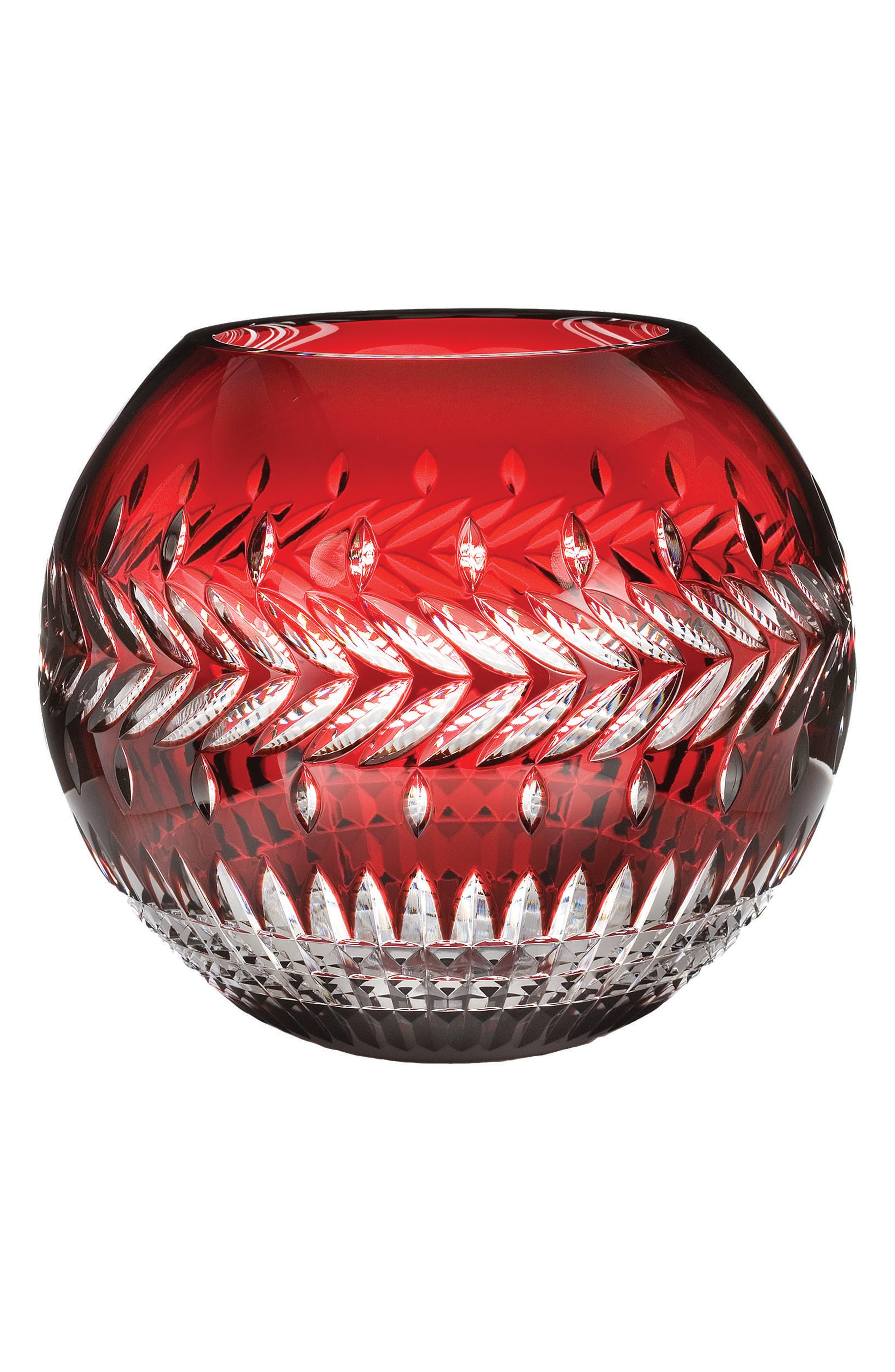 Fleurology Meg Ruby Rose Lead Crystal Bowl,                             Main thumbnail 1, color,                             100