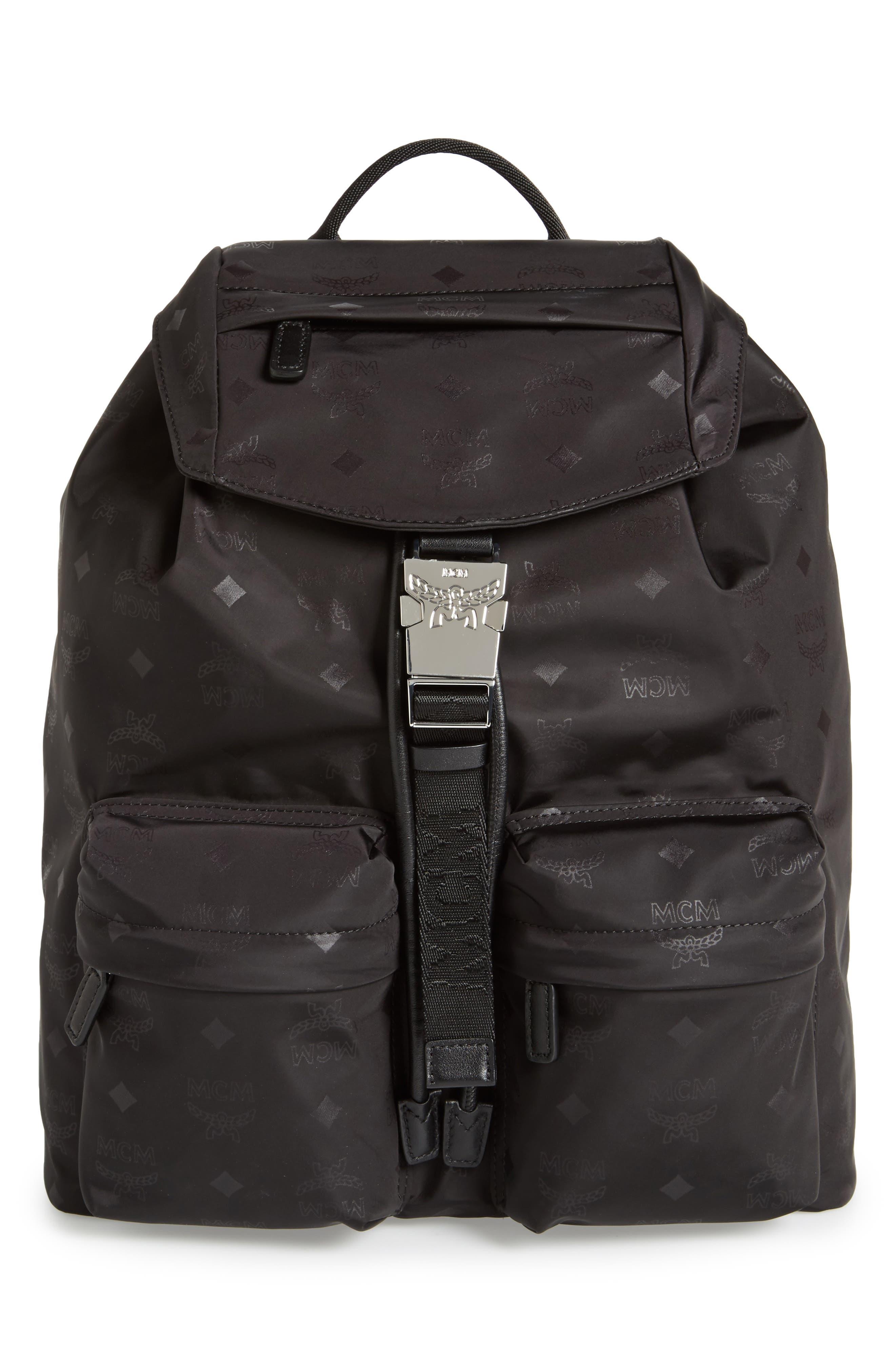 Small Dieter Monogrammed Nylon Backpack,                         Main,                         color, BLACK