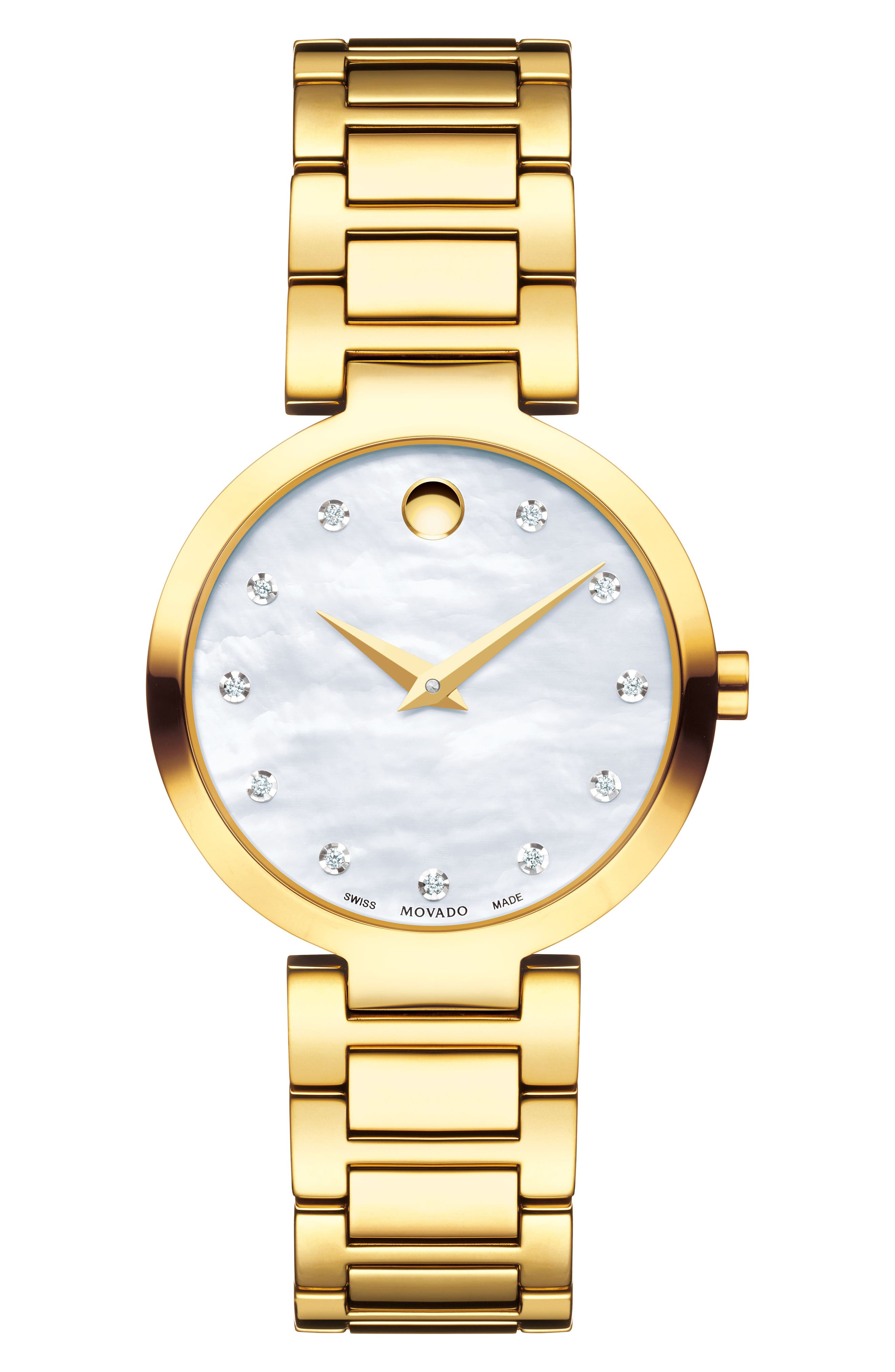 Modern Classic Diamond Bracelet Watch, 28mm,                             Main thumbnail 1, color,                             GOLD/ MOP/ GOLD