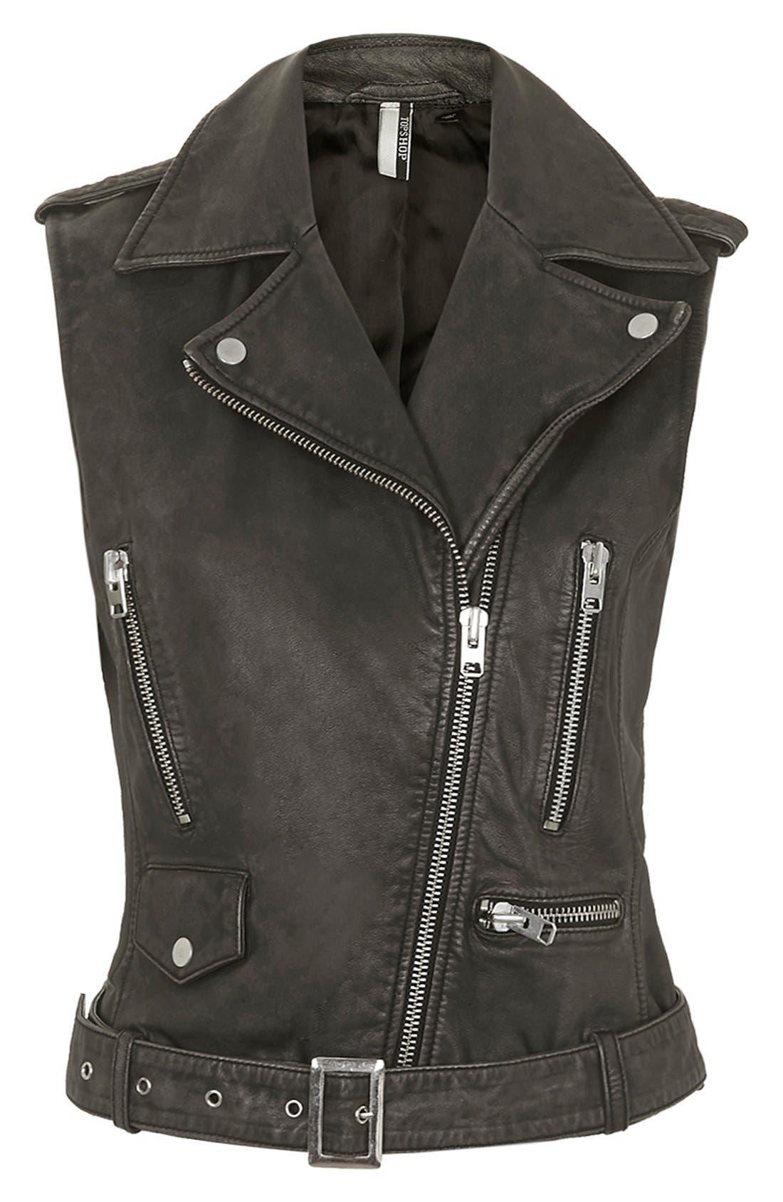 TOPSHOP,                             'Sylvia' Leather Biker Vest,                             Alternate thumbnail 4, color,                             001