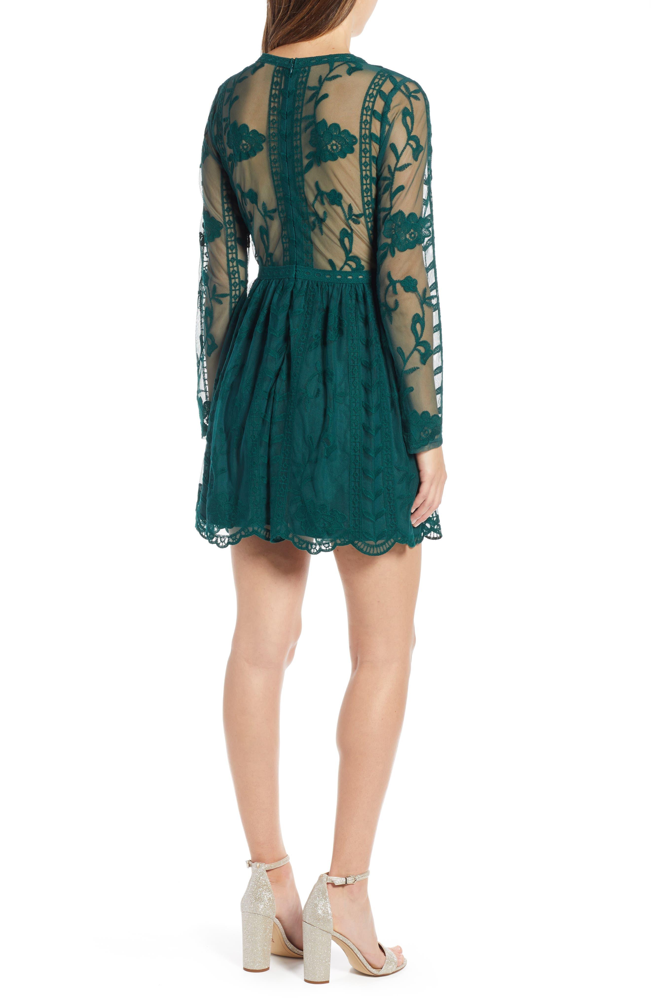 SOCIALITE,                             Long Sleeve V-Neck Lace Dress,                             Alternate thumbnail 2, color,                             300